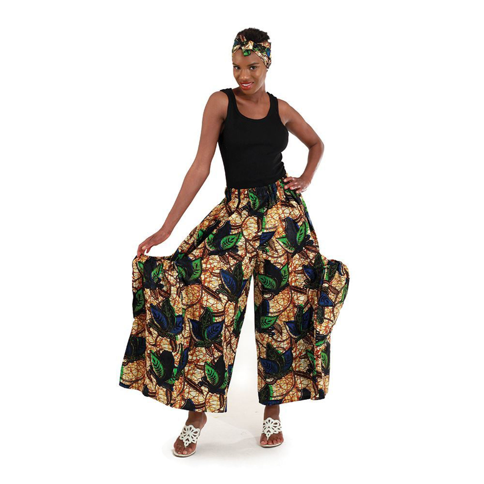 Picture of African Print Leaf Palazzo Pants