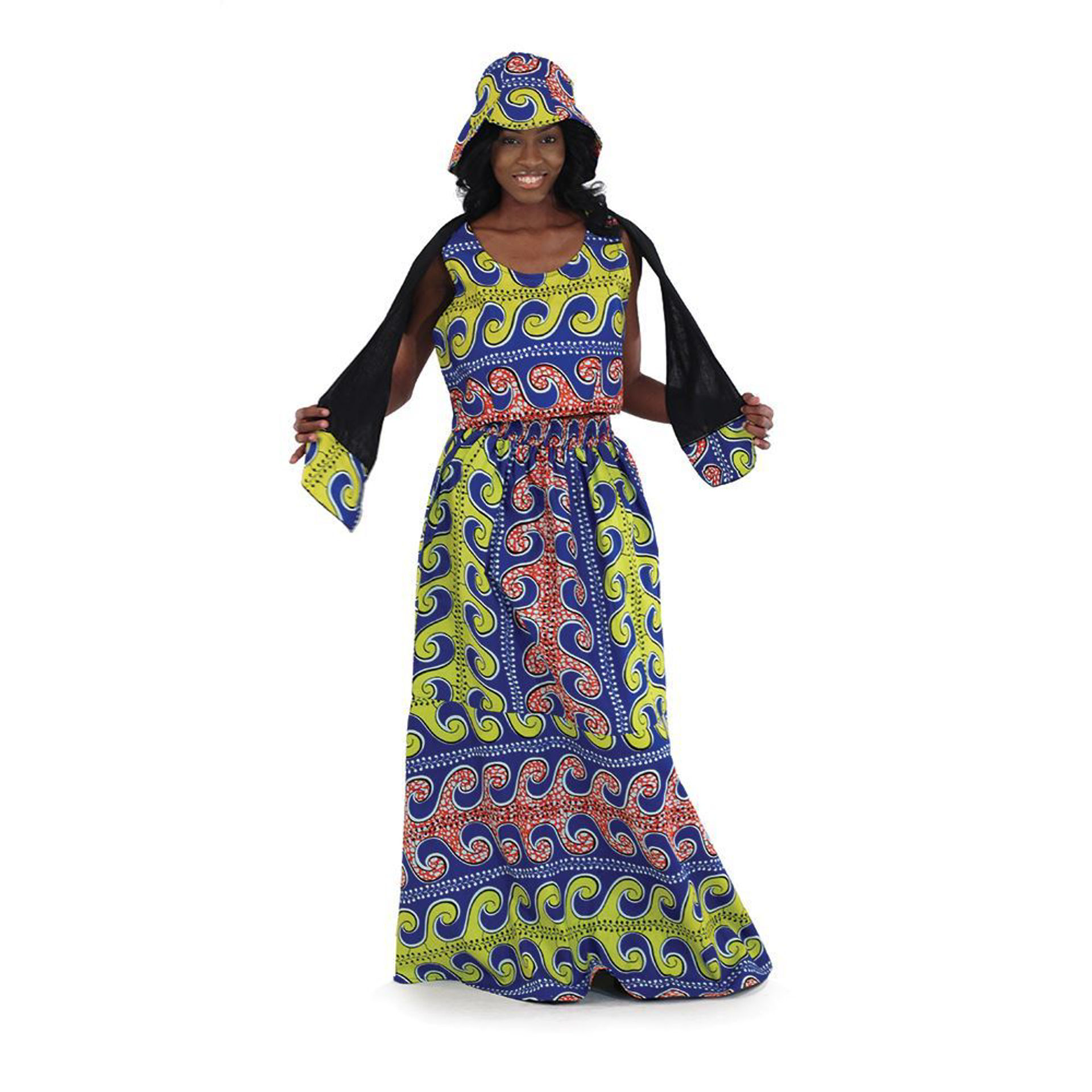Picture of African Print Summer Skirt Set: Blu/Yel