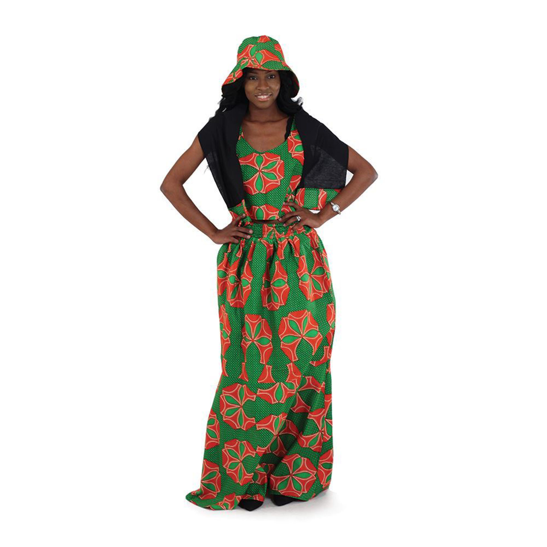 Picture of African Print Summer Skirt Set: Grn/Red
