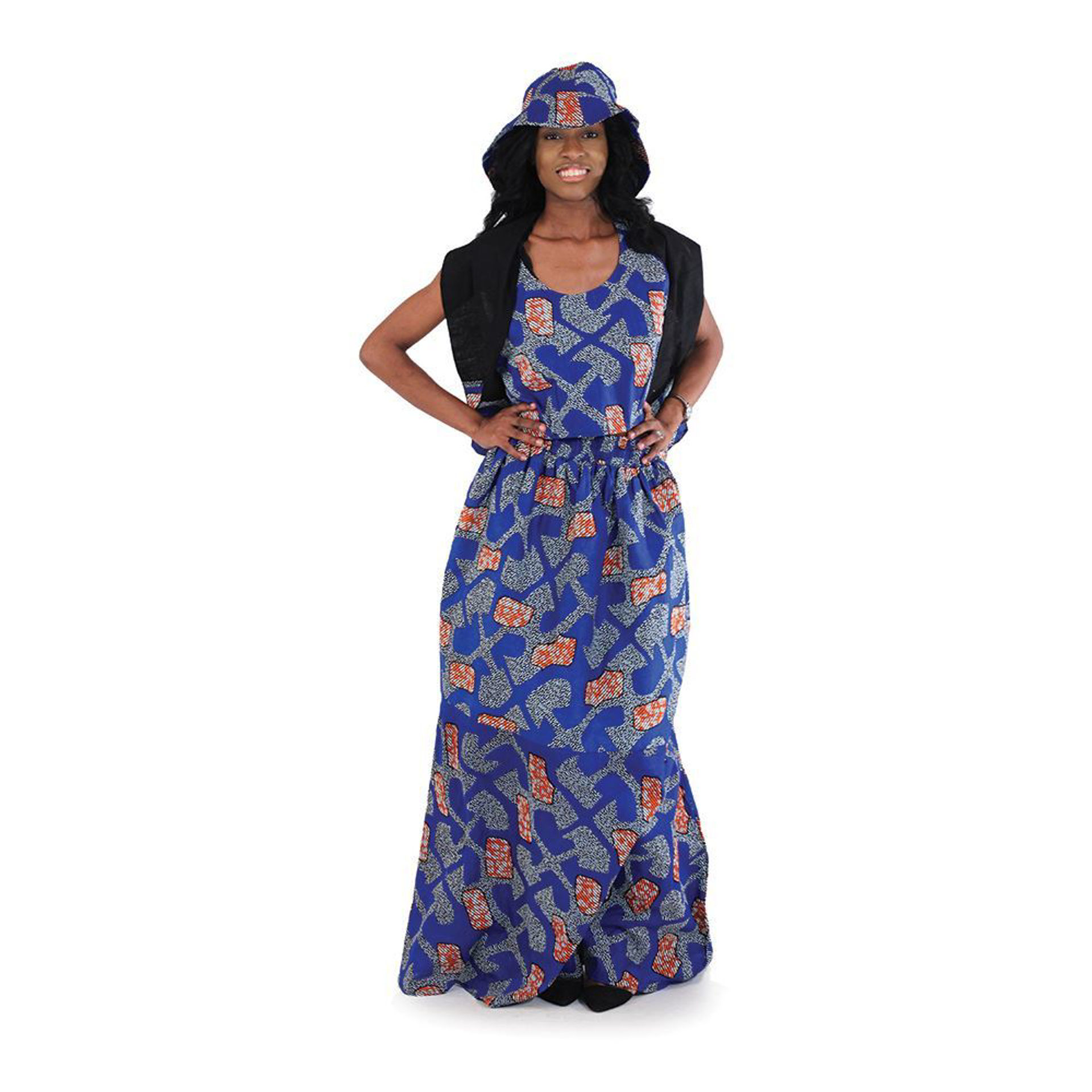 Picture of African Print Summer Skirt Set: Blu/Wht