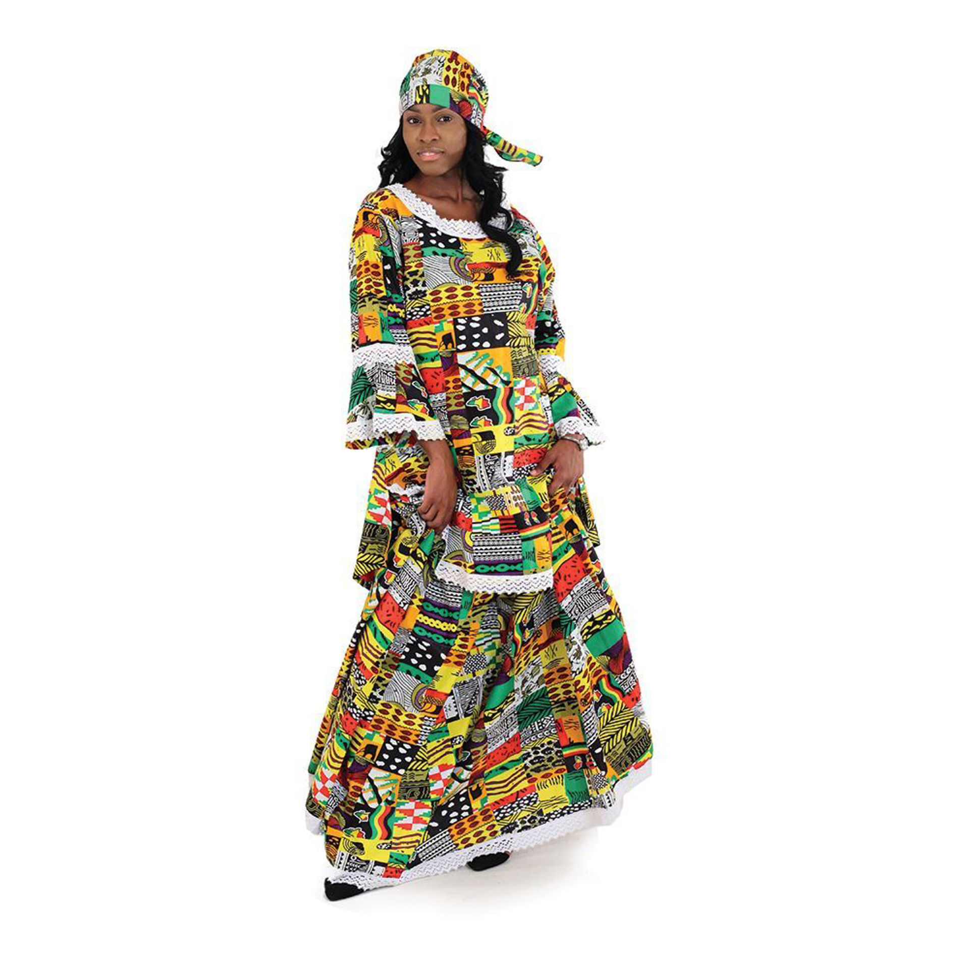 Picture of Patchwork Print Skirt Set