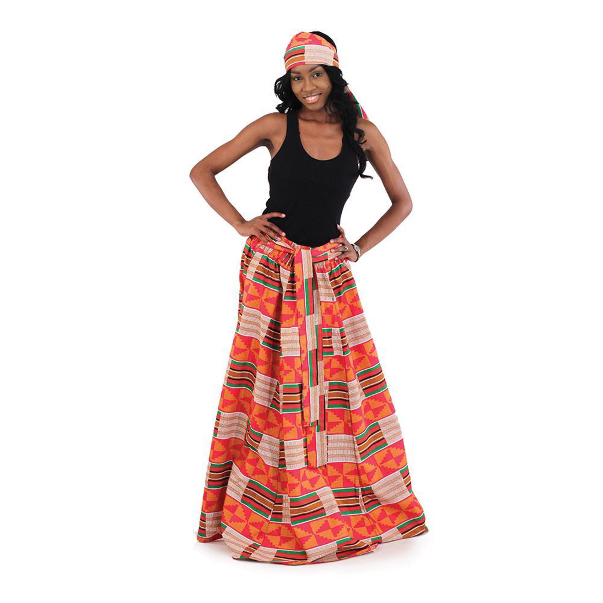 Picture of Red-Pink Kente Long Skirt