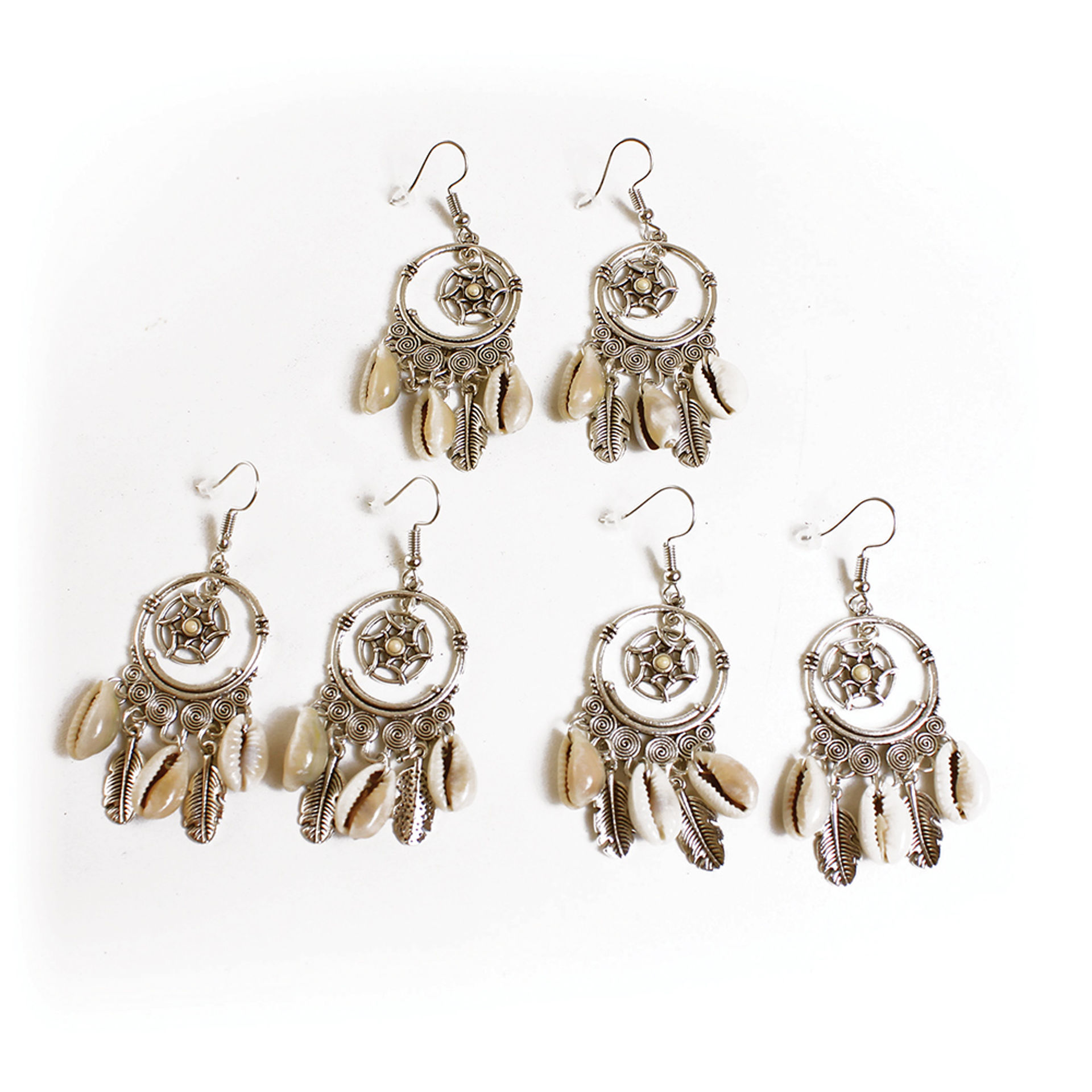 Picture of Set Of 3 Triple Cowrie Shell Earrings