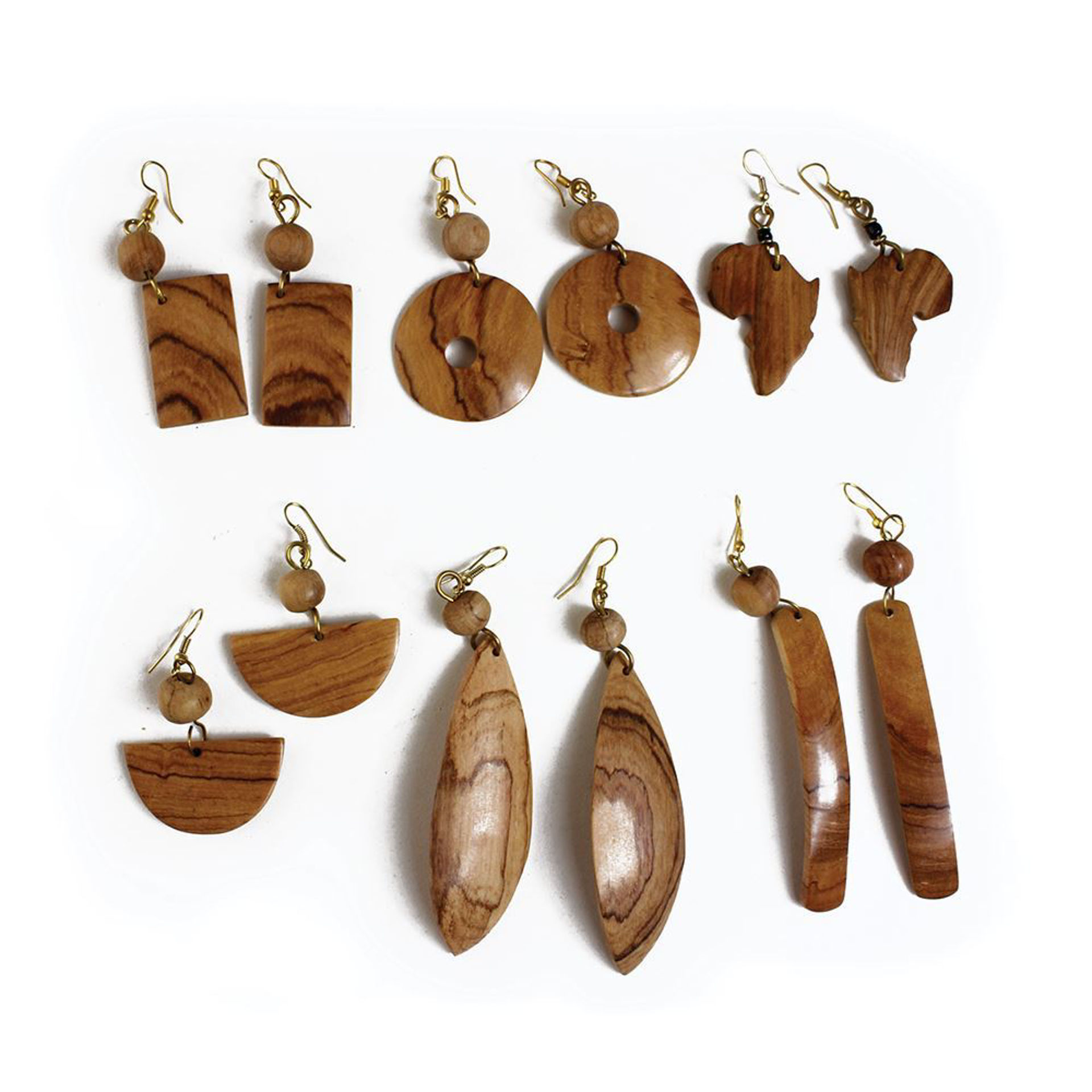 Picture of Set Of 6 African Wood Earring Pairs