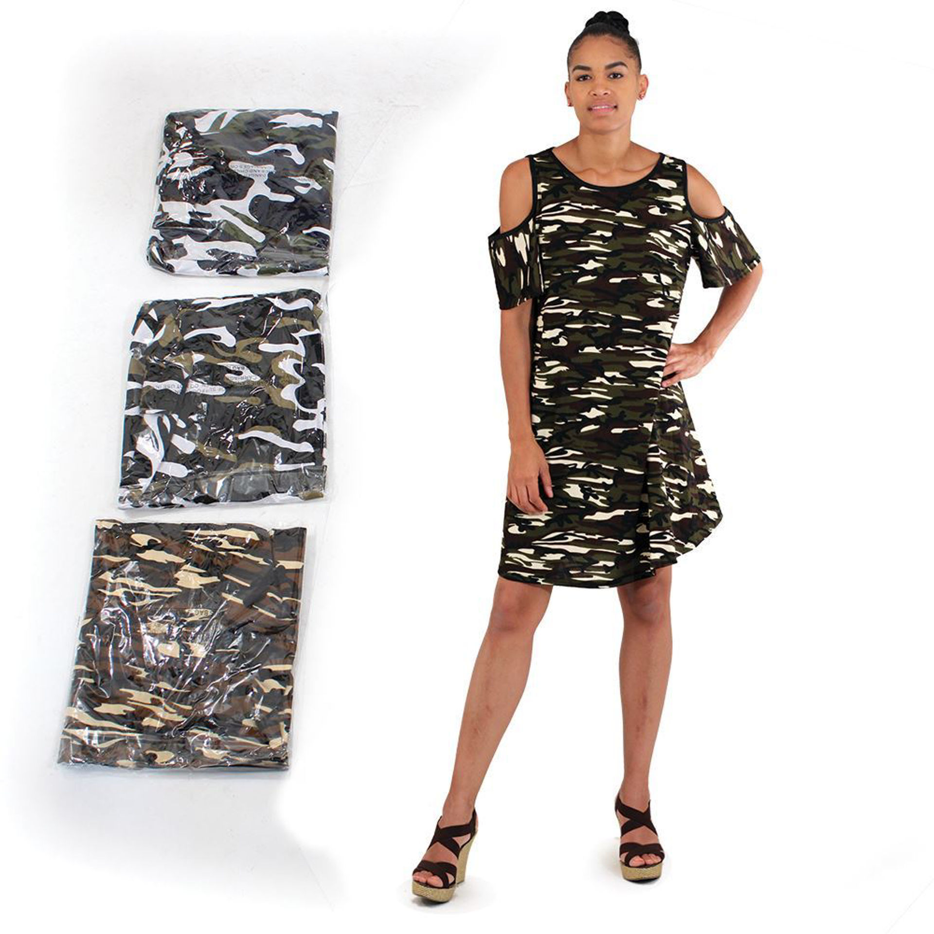 Picture of Set Of 4 Cut-Sleeve Camo Dresses