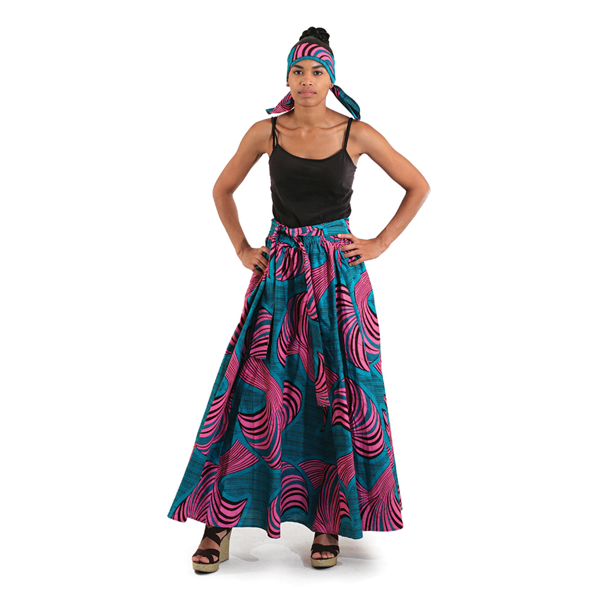 Picture of African Print Maxi Skirt: Turquoise/Pink