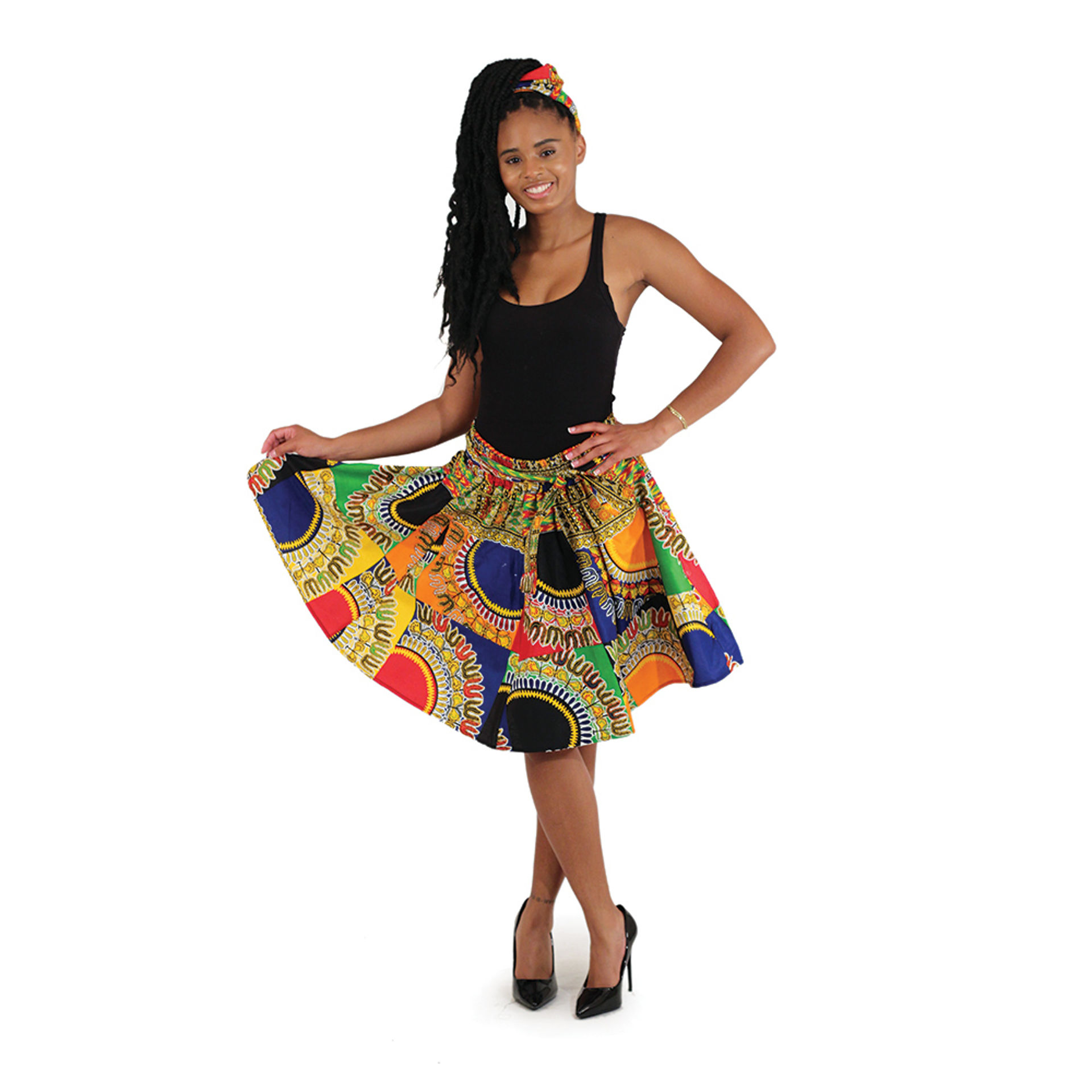 Picture of Traditional Patchwork Print Mini Skirt