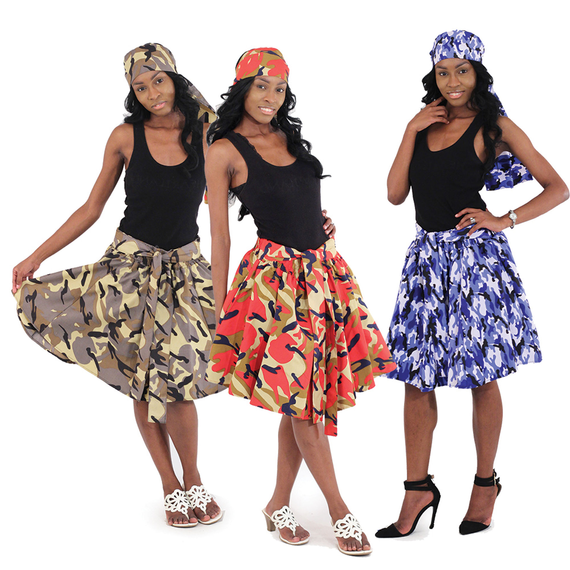 Picture of Set Of 3 Camo Mini Skirts ASSORTED