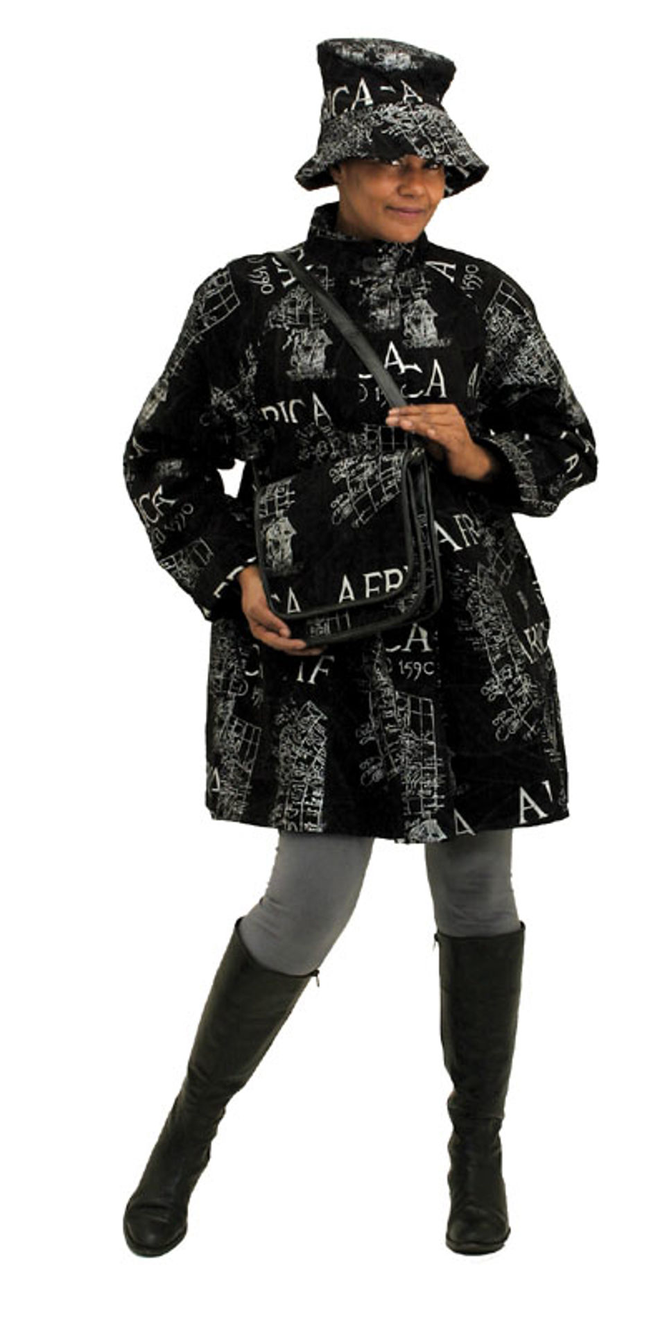 Picture of Suede Africa Coat w/Hat & Bag - Black