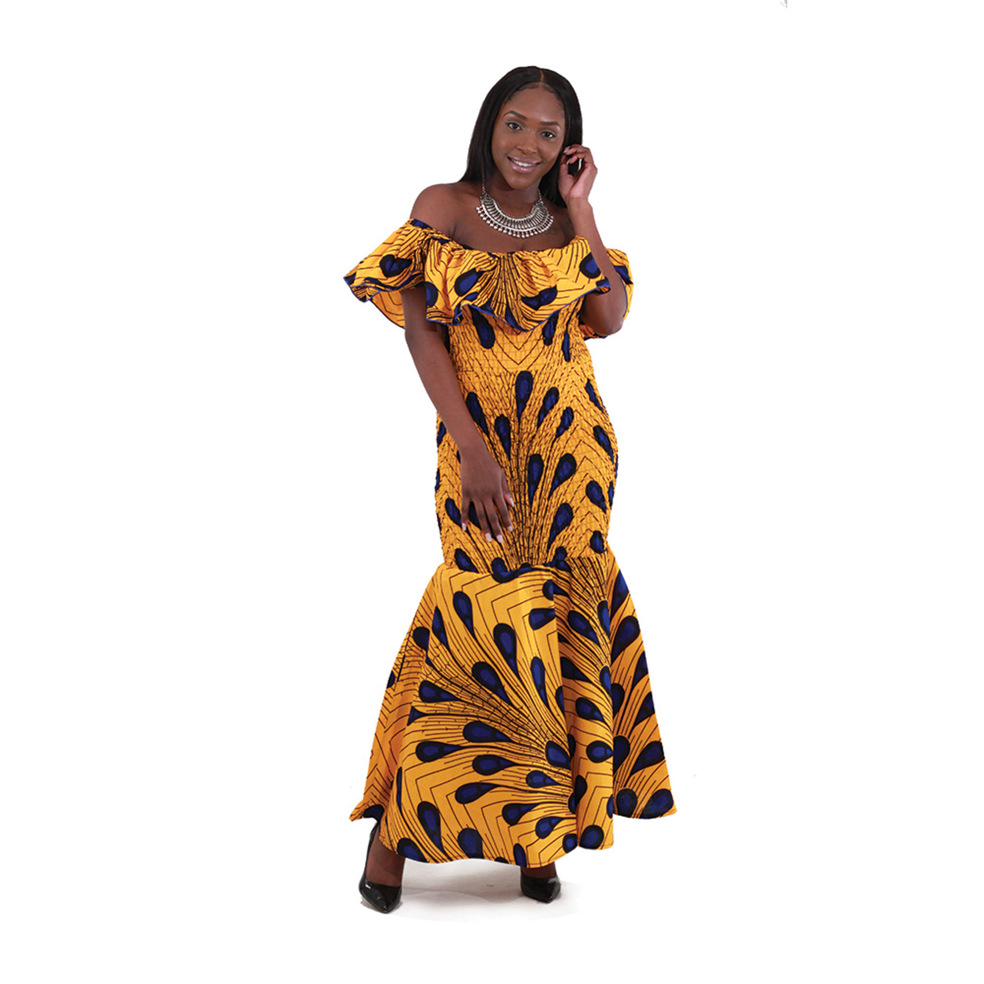 Picture of DAMAGEDAfricanMade Peacock Elastic Dress