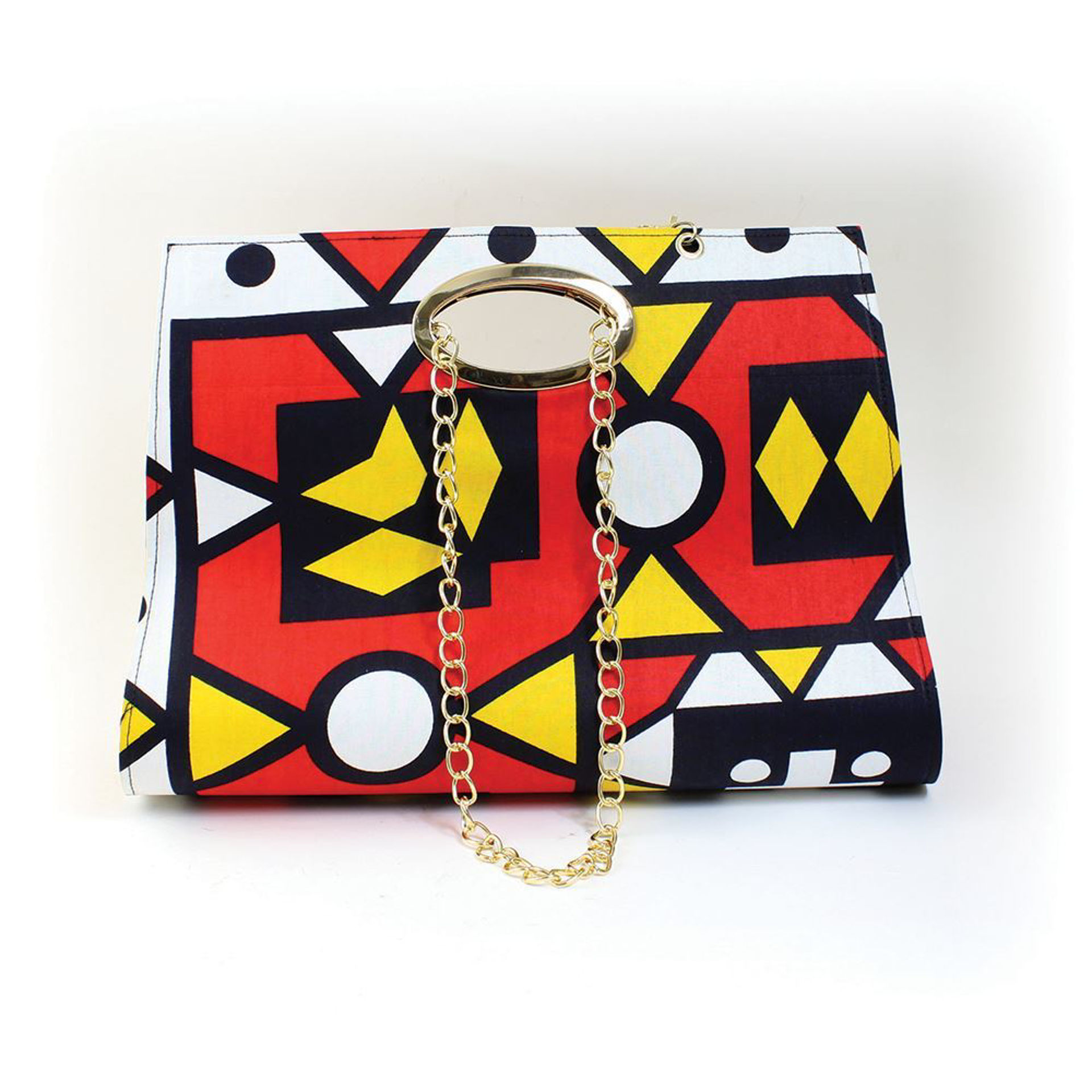 Picture of African Print Hand Bag: Red/Yellow