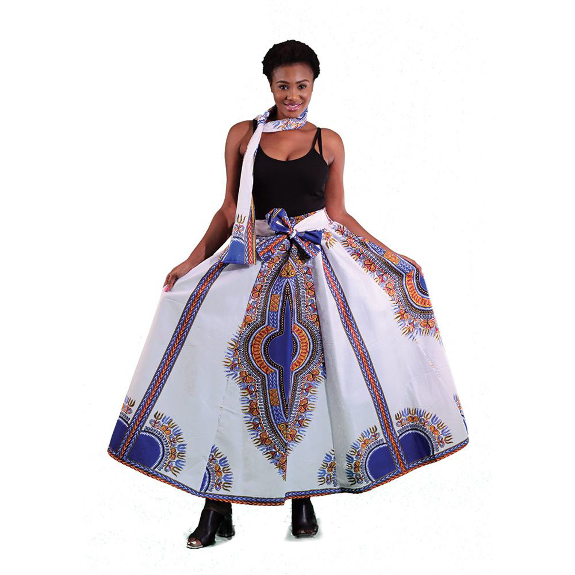 Picture of Traditional Print Long Skirt: White