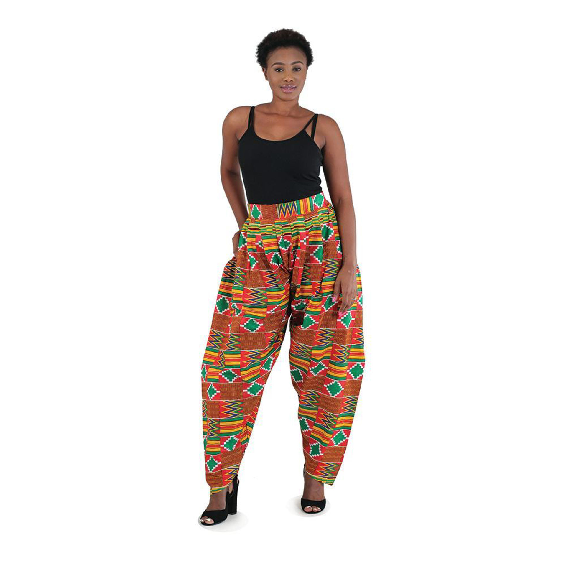 Picture of Pleated Pants: Red Kente
