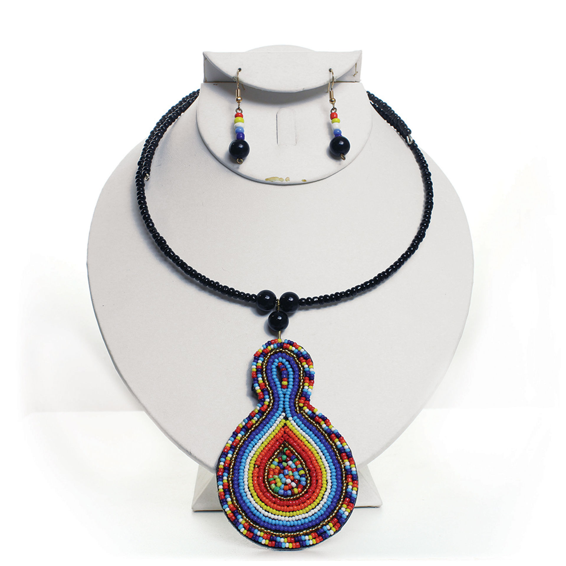 Picture of Maasai Bead Leather Pendant Choker Set