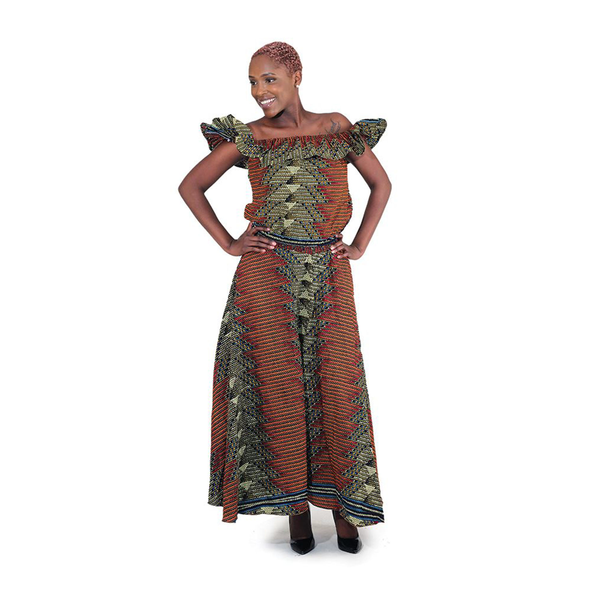 Picture of African-Made Geometric Print Skirt Set