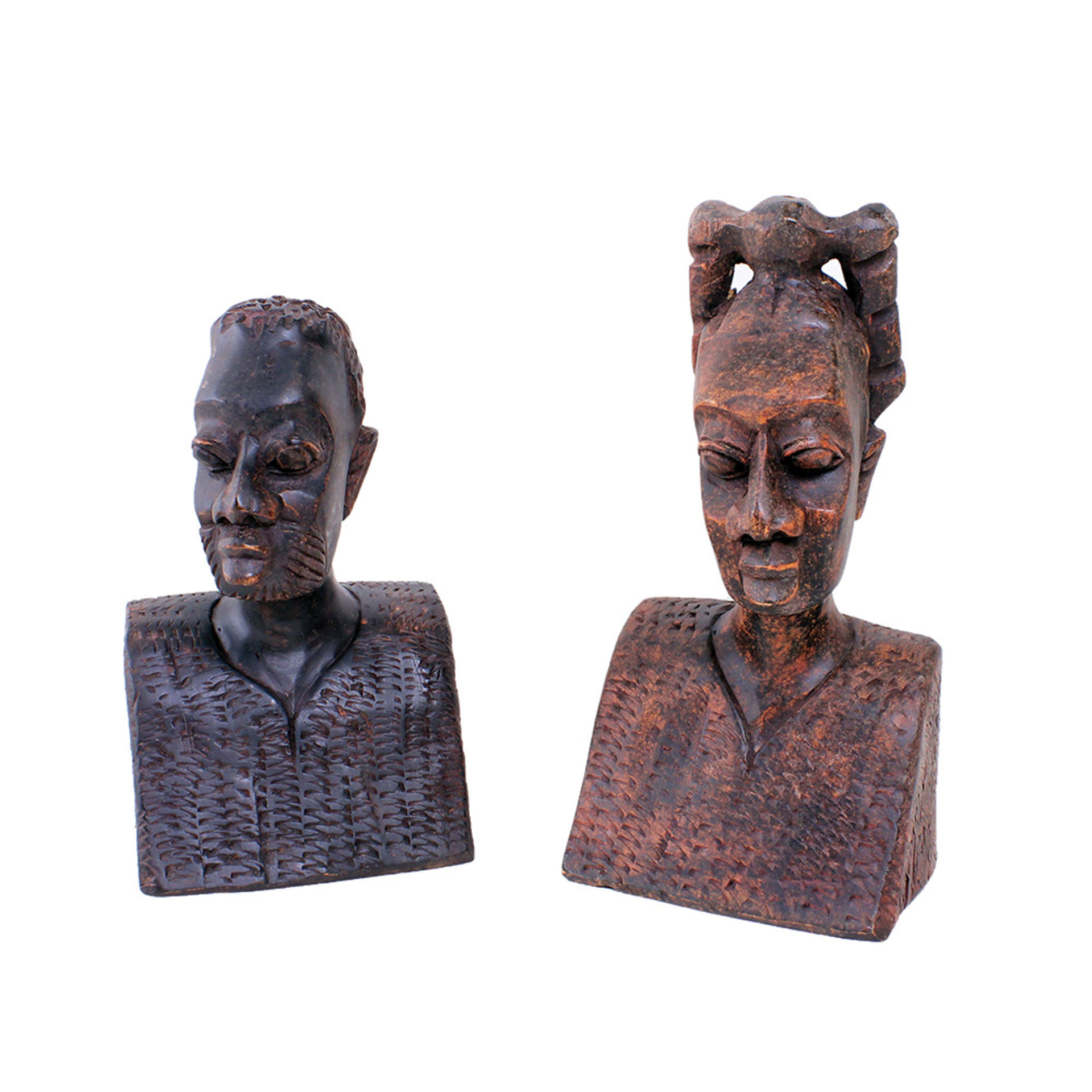 Picture of Pair Of African Man & Woman Busts