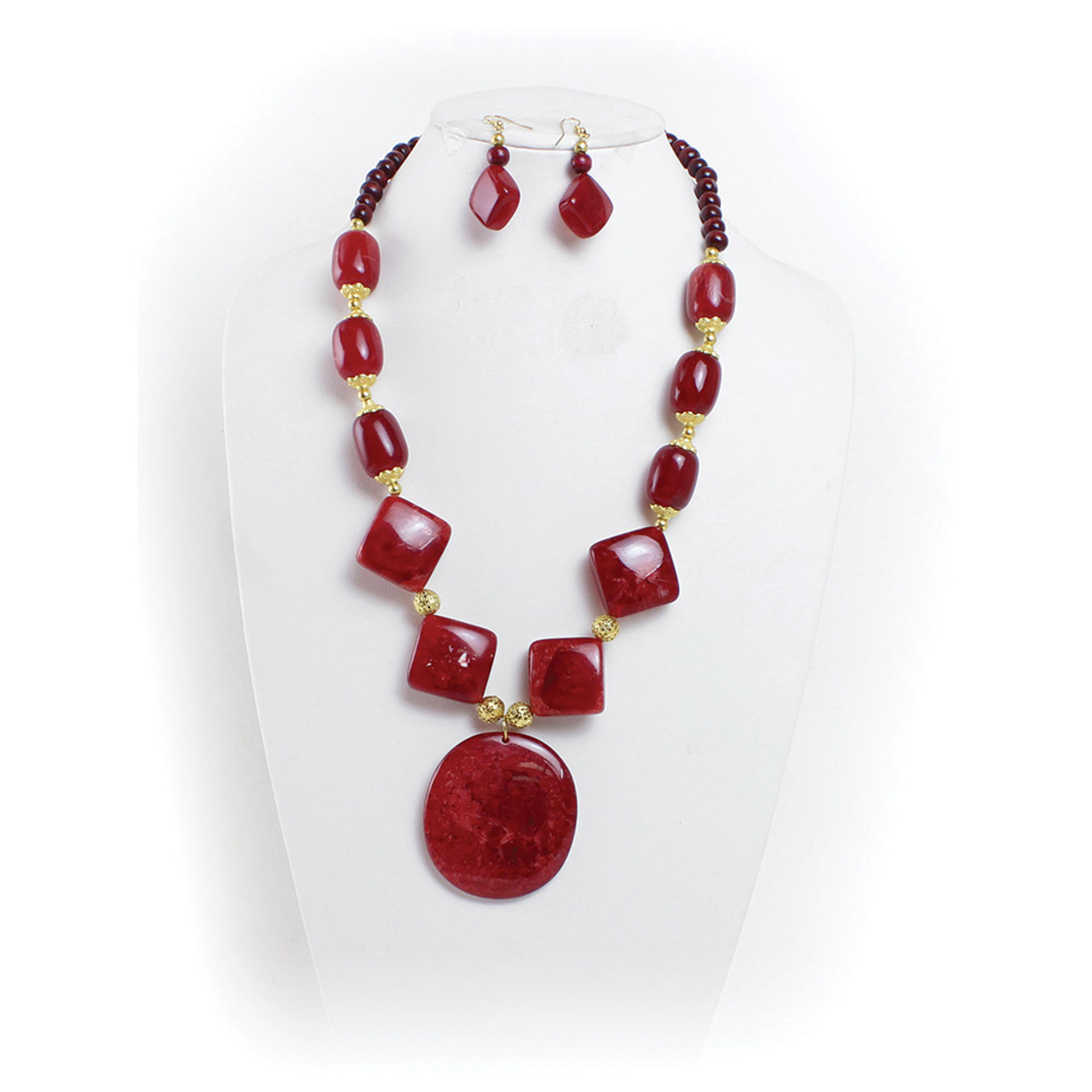 Picture of Ruby Red Stone Necklace & Earrings