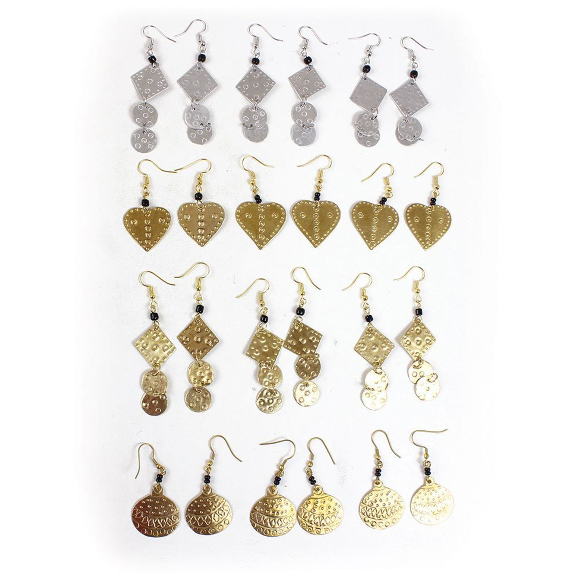 Picture of Set Of 12 African Gold & Silver Earrings