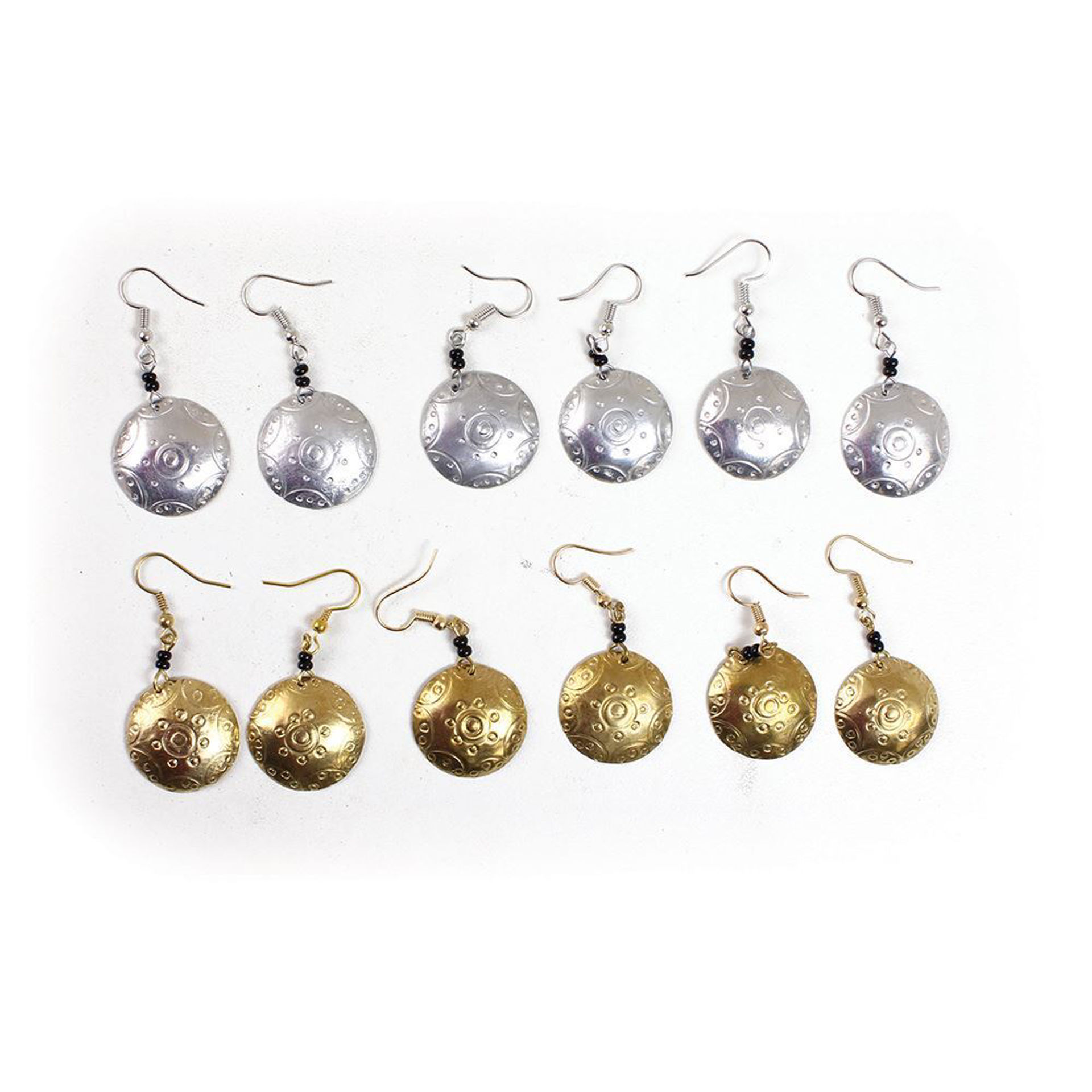 Picture of Set Of 6 Round Silver & Brass Earrings