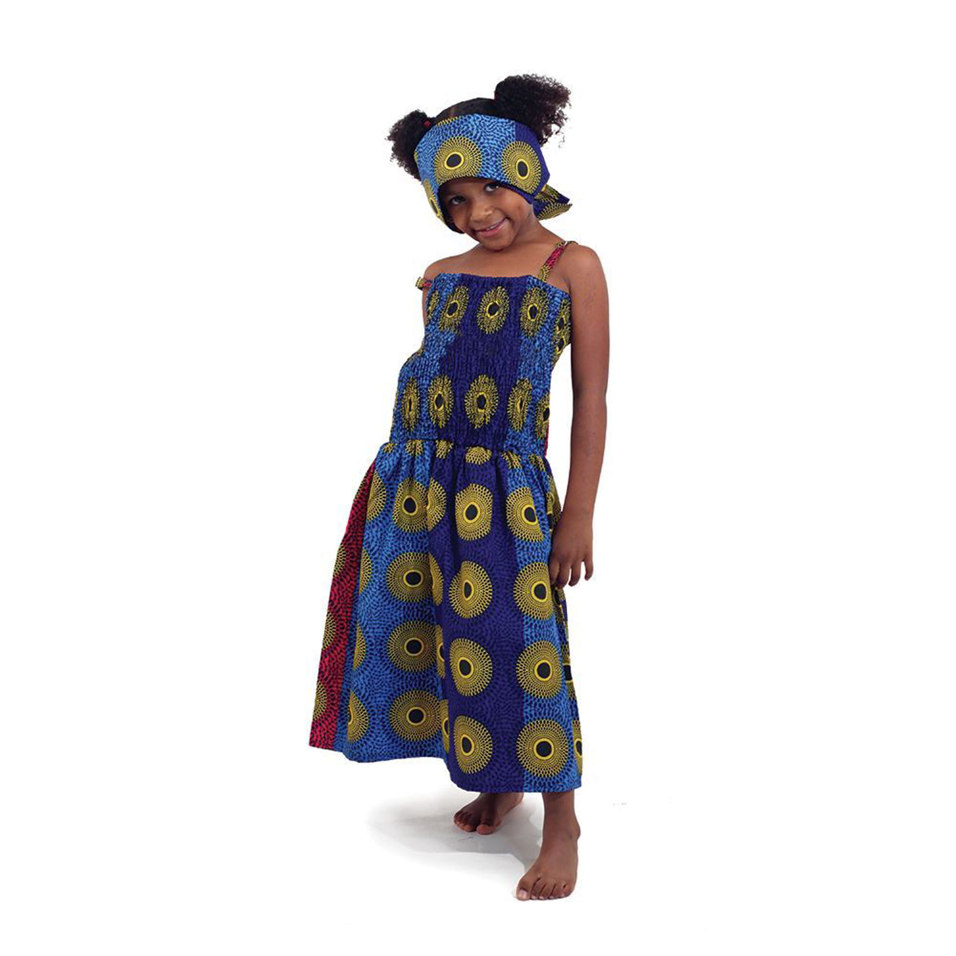 Picture of Children's Circle Print Dress: Bl/Yl/Pk