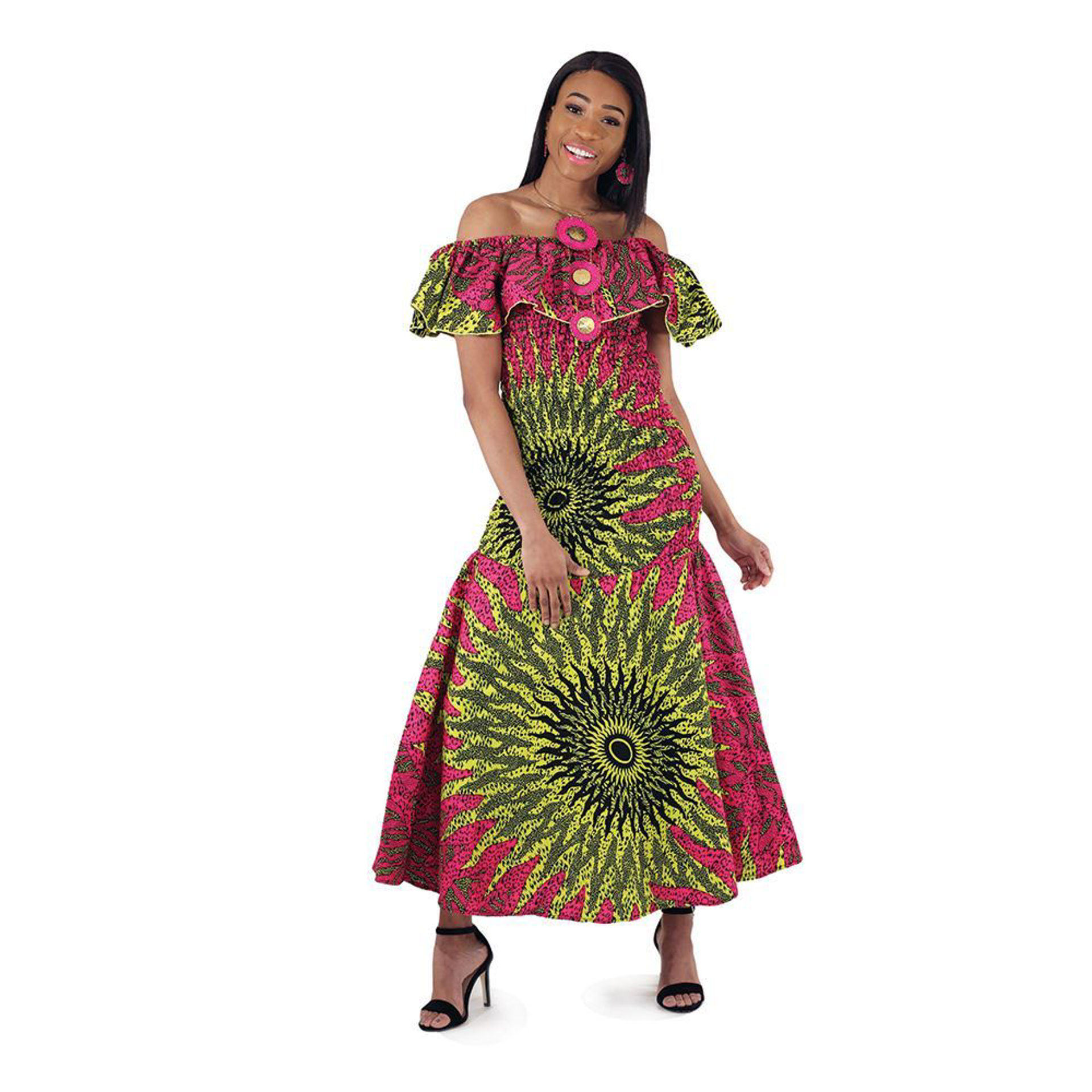 Picture of African-Made Pink Sun Elastic Dress