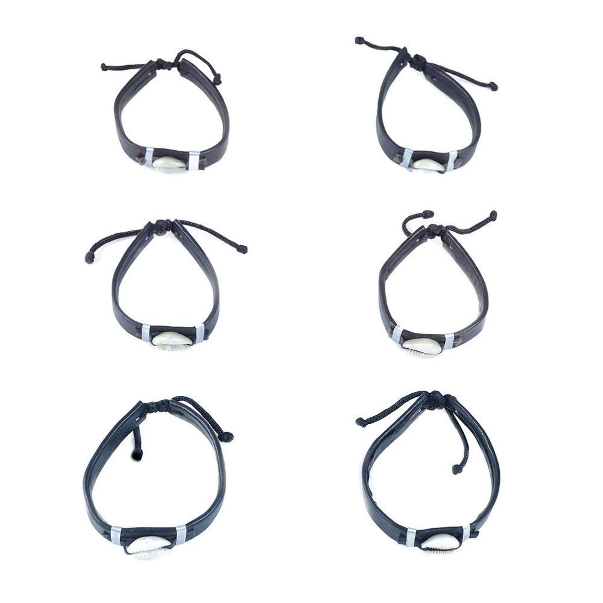 Picture of Set Of 6 Leather Cowrie Shell Bracelets