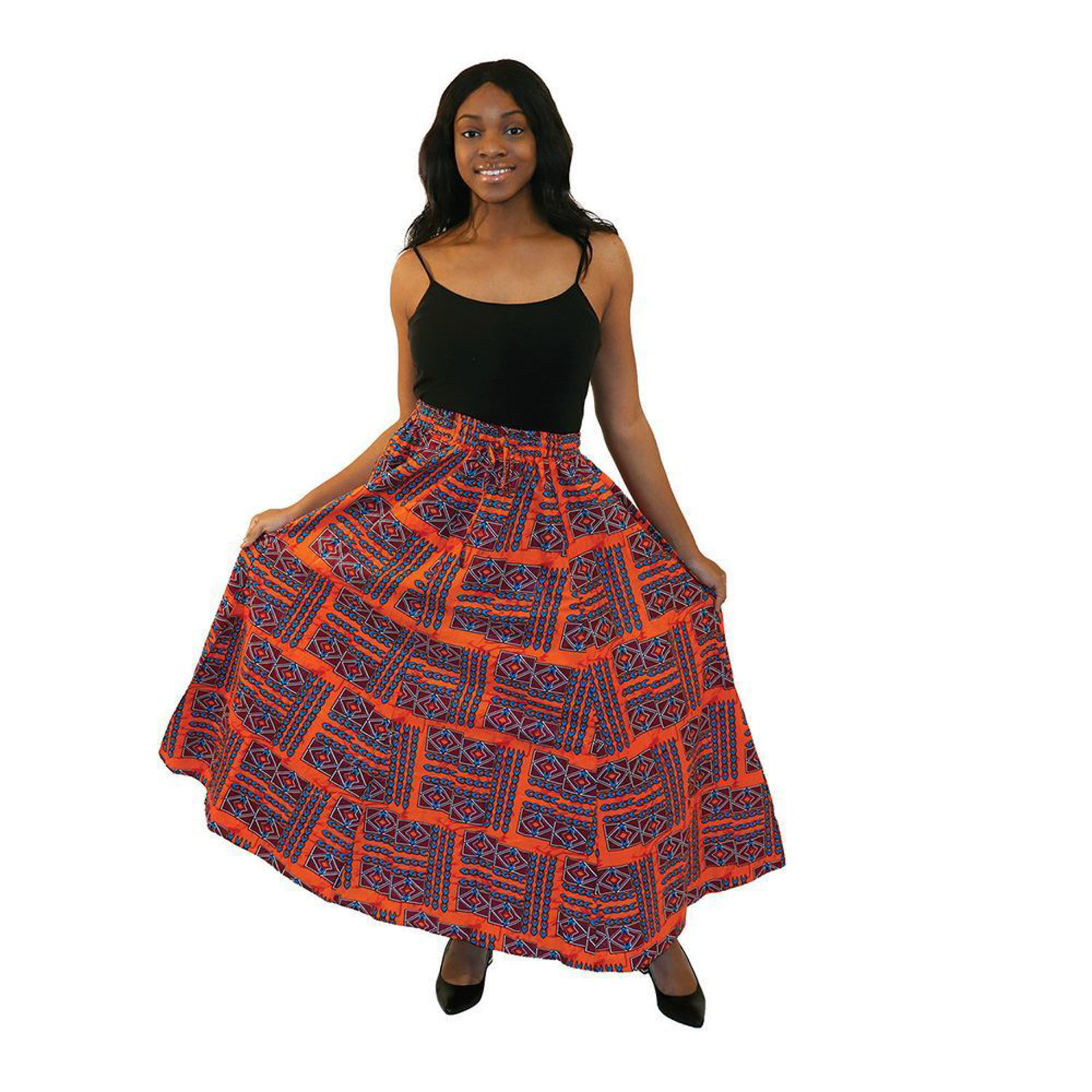 Picture of Orange African Print Skirt - 6 Panel