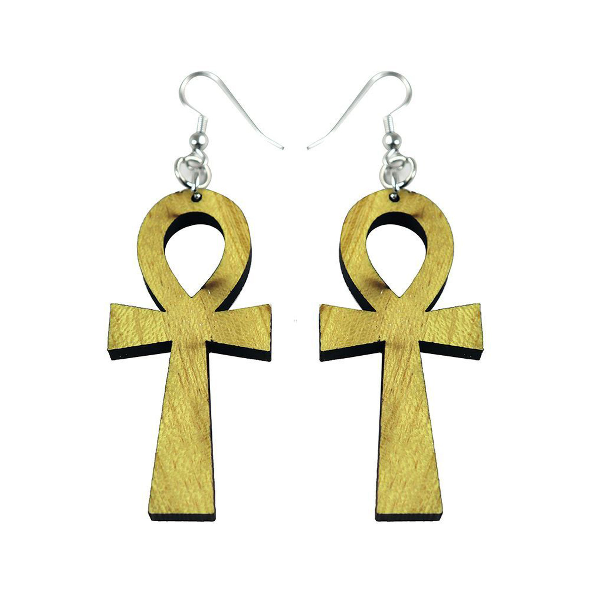Picture of Wooden Ankh Earrings