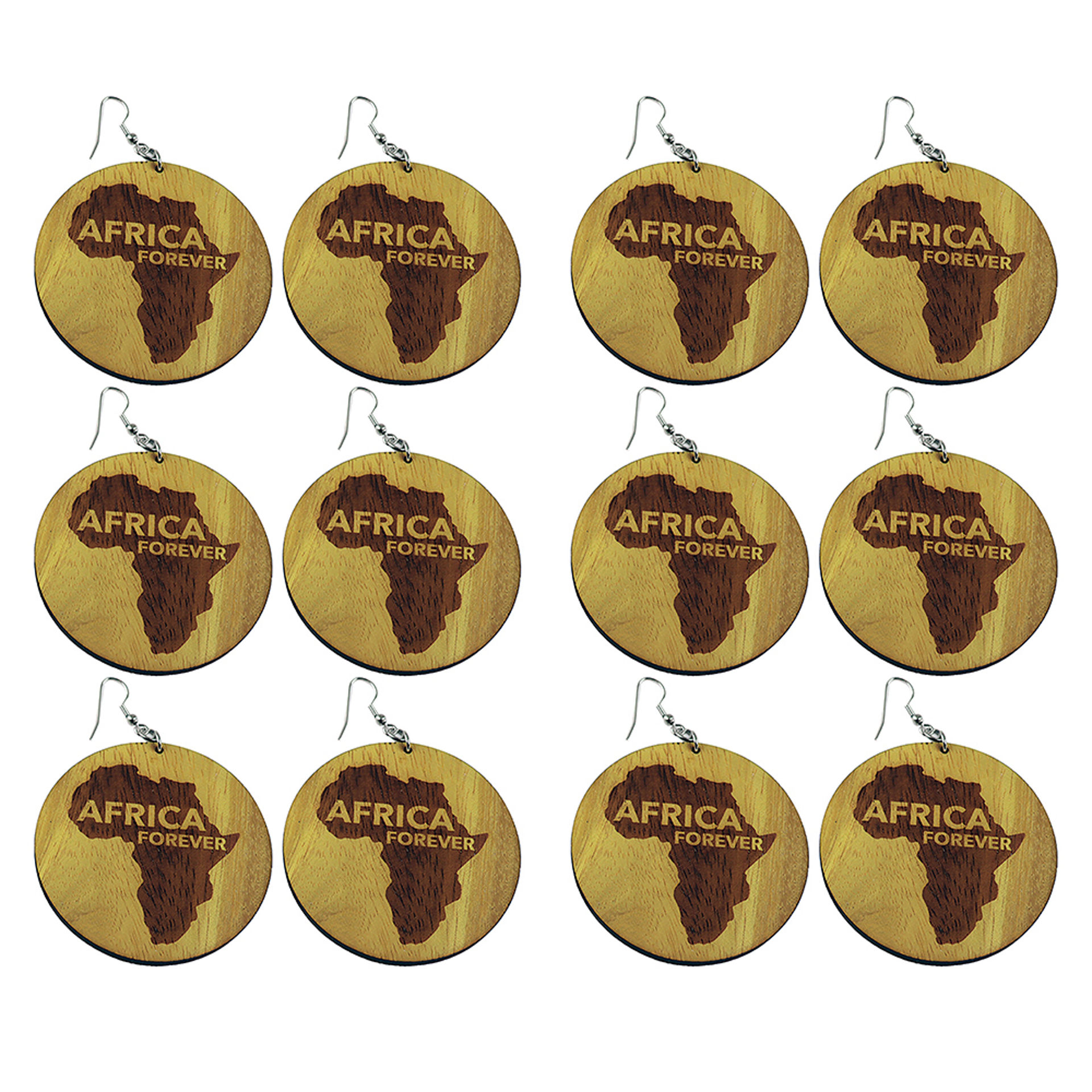 Picture of Set Of 6 Wooden Africa Earrings