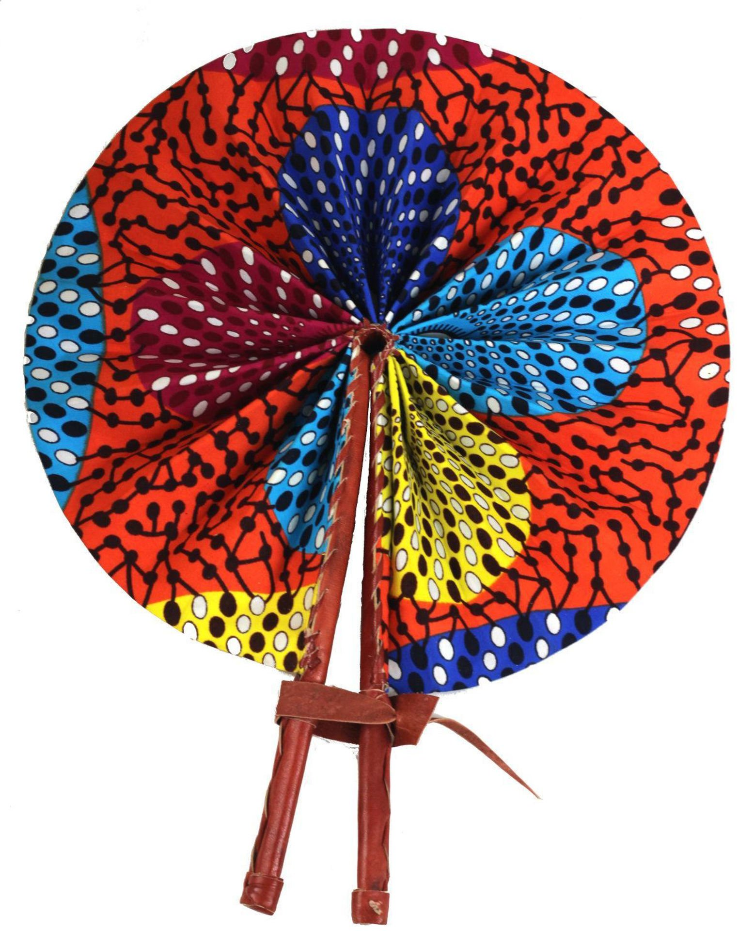 Picture of Multi-Color Dot Print Folding Fan