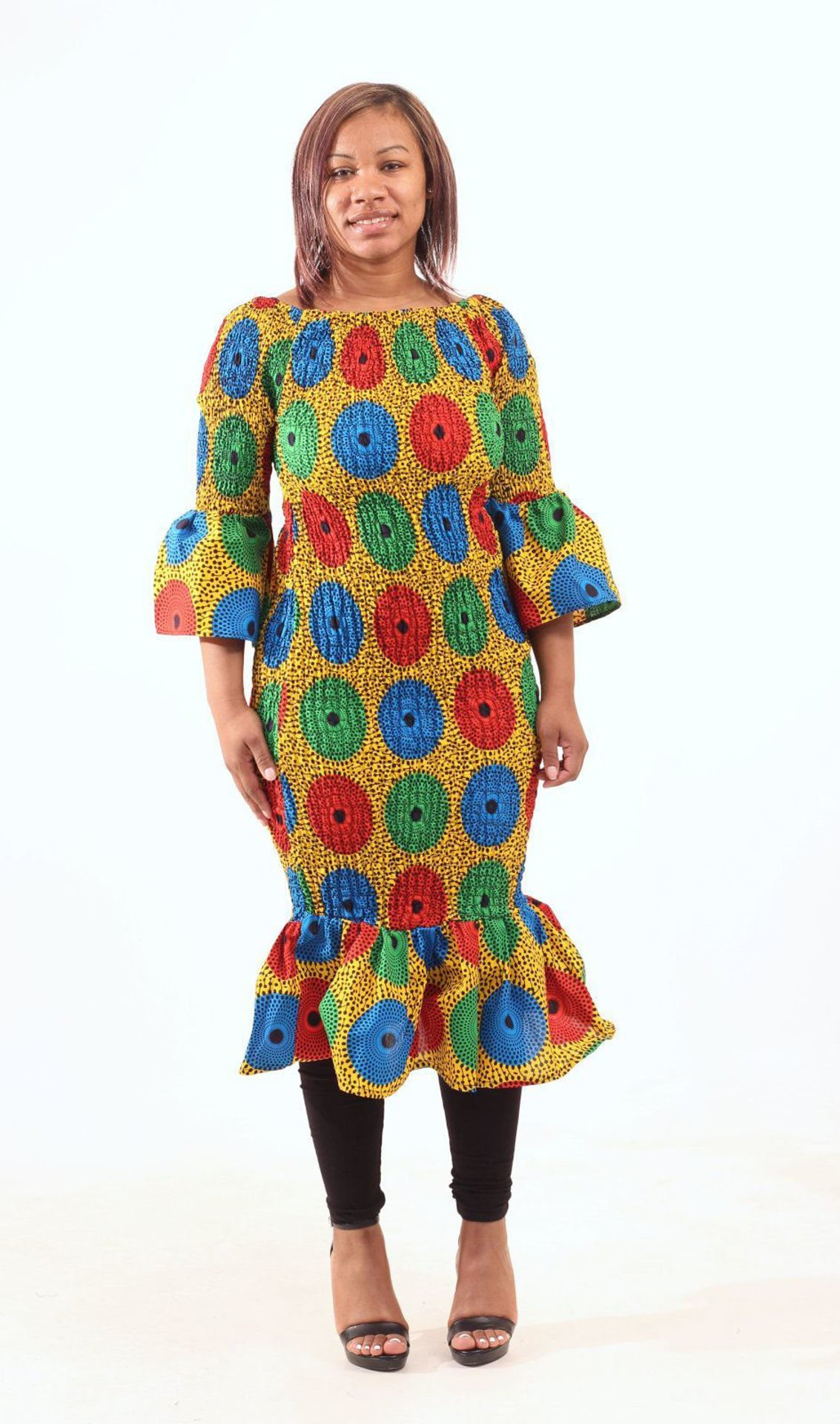 Picture of Multi-Color Circle Print Short Dress