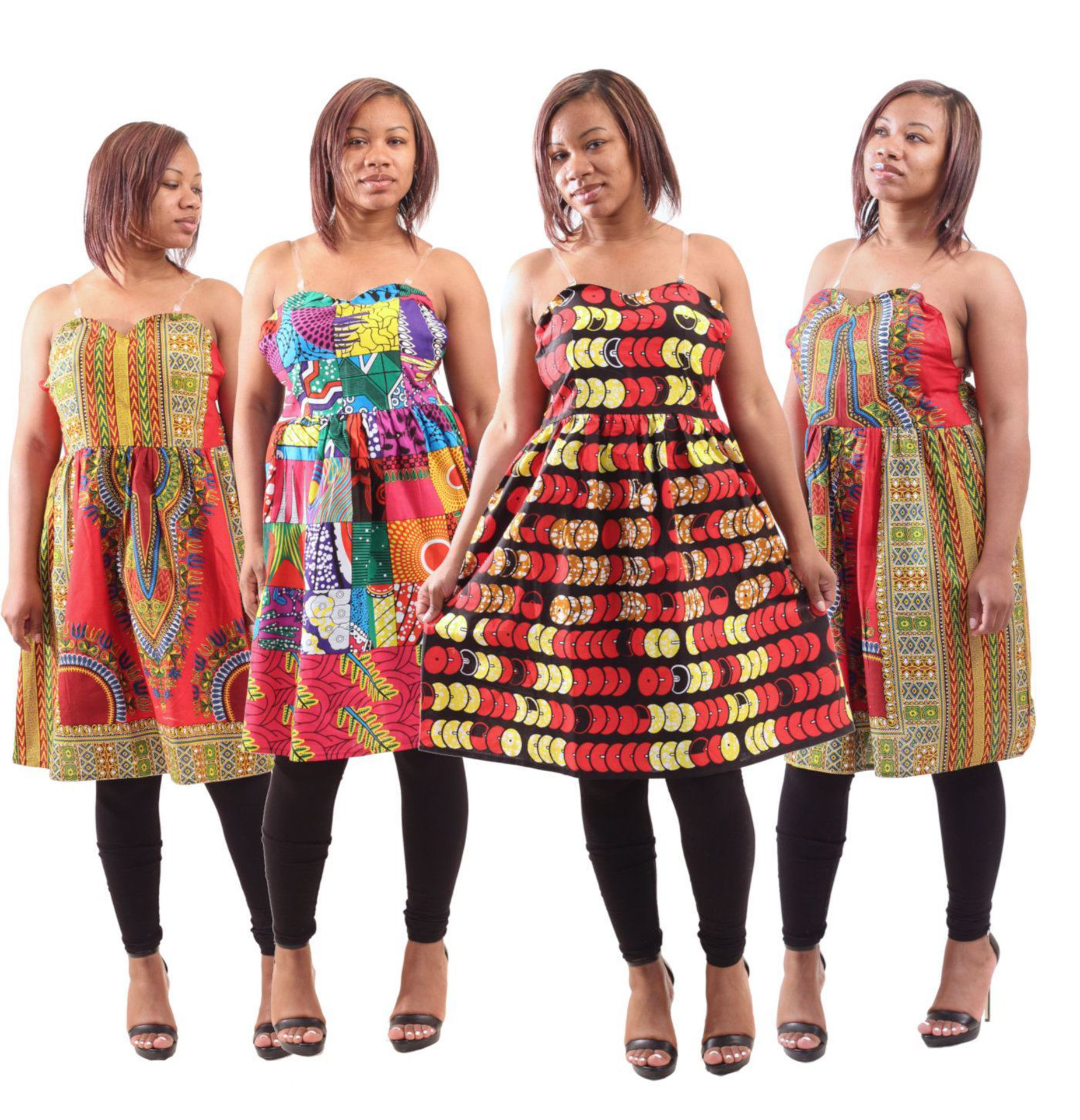 Set Of 4 Assorted Strap Dresses Md Lg Women S Dresses African Fashion Africa Imports