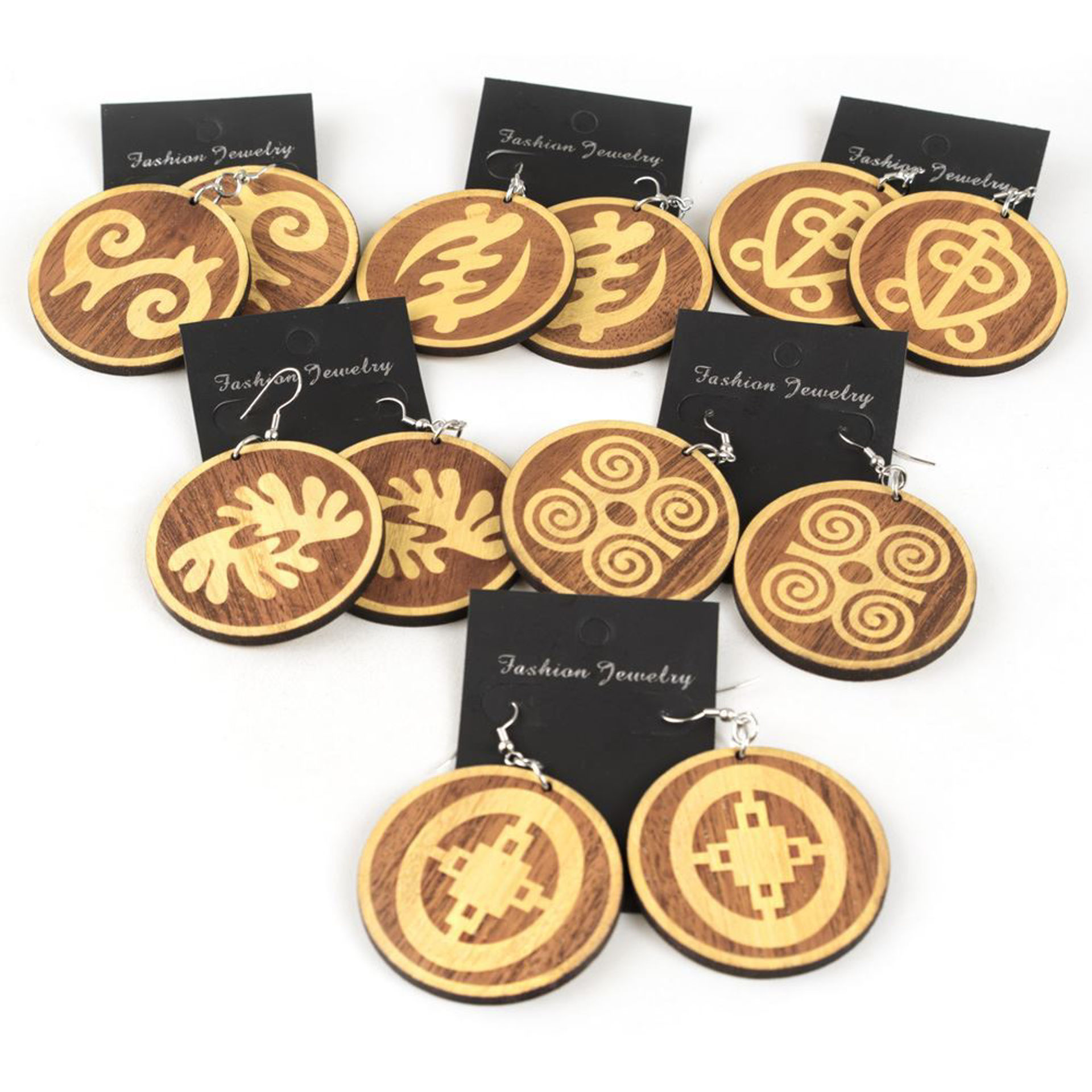 Picture of Set Of 6 Wooden Symbol Earrings