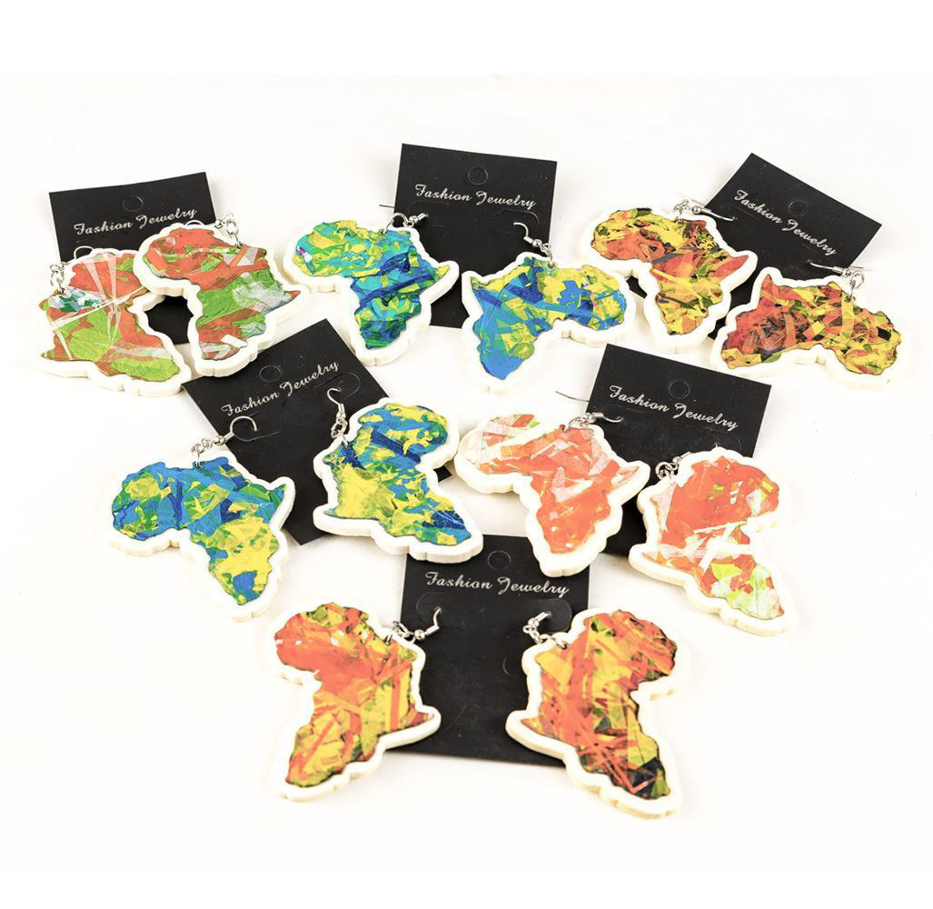 Picture of Set Of 6 Africa Color Earrings: White