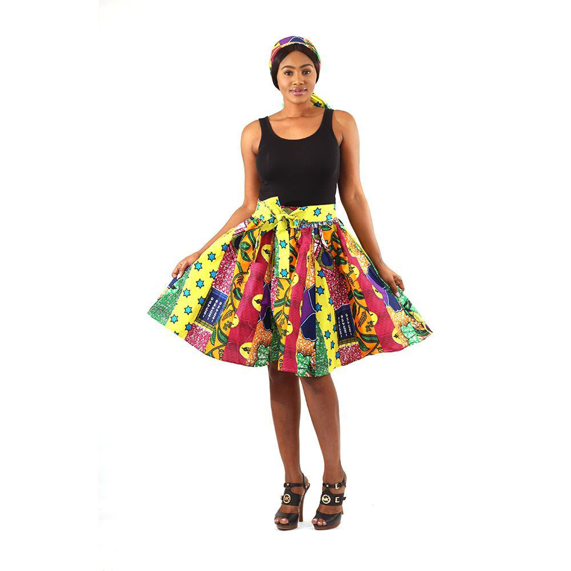 Picture of African Print Multi-Strip Short Skirt