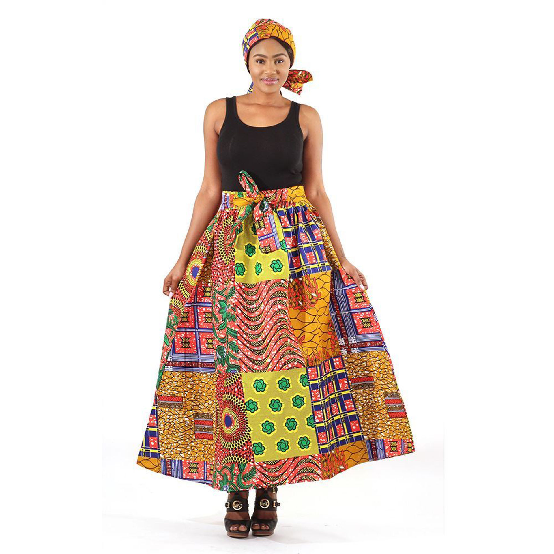 Picture of Patchwork Print Panel Skirt