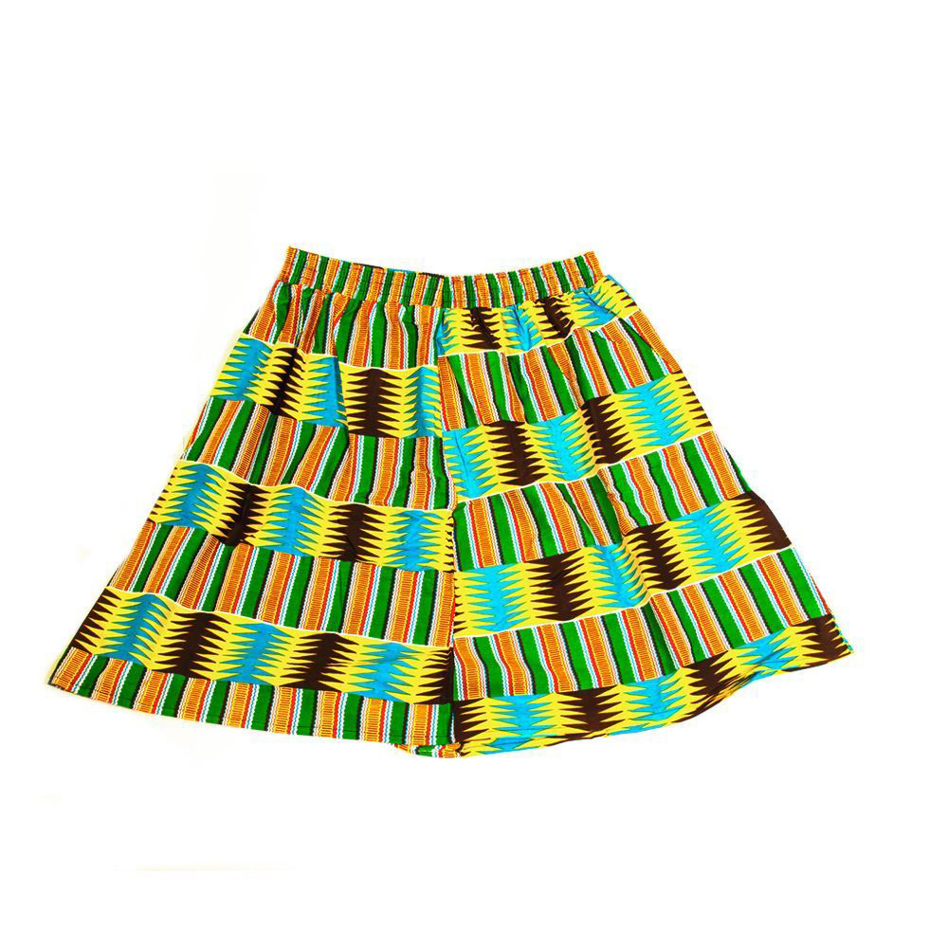 Picture of Yellow/Green Kente Short Skirt