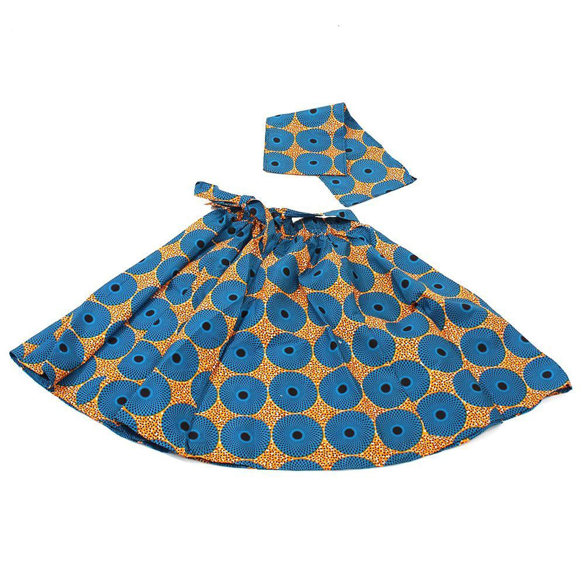 Picture of Turquoise/Orange Circle Print Skirt
