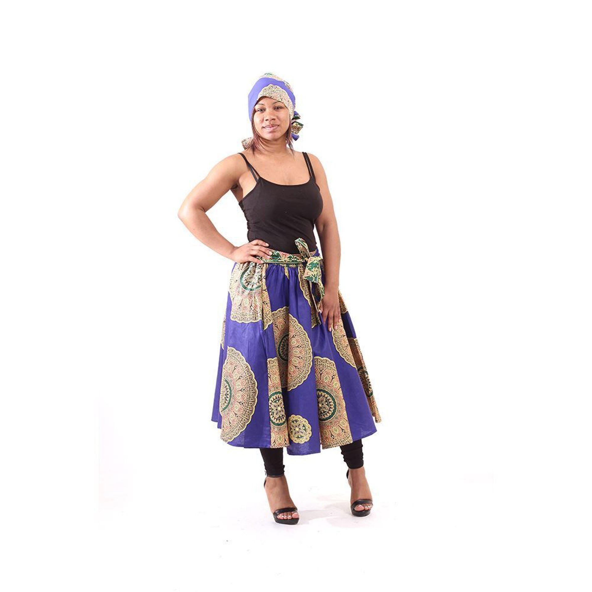 Picture of Blue African Royalty Print Skirt
