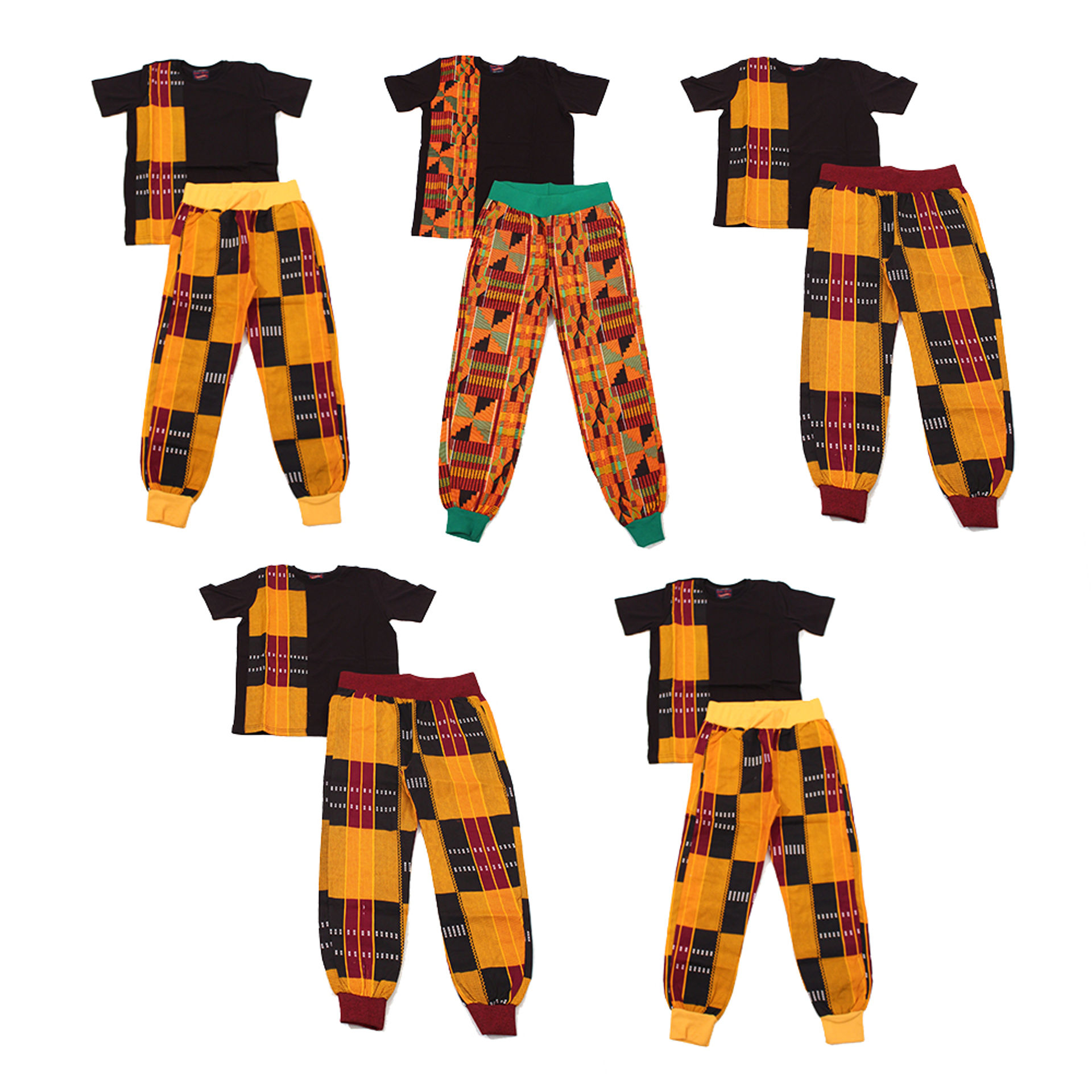 Picture of Set Of 5 ASSORTED Kente Pant Sets: Black