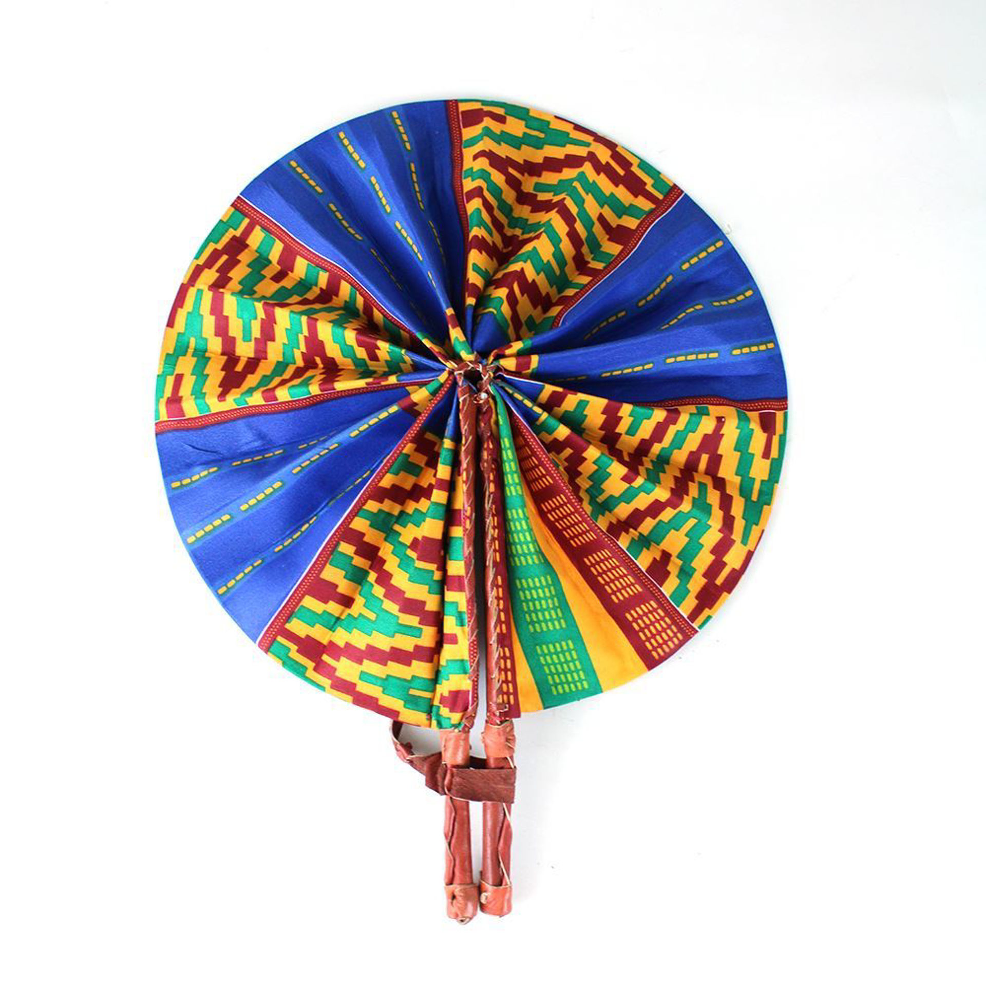 Picture of Blue/Orange Kente Folding Fan