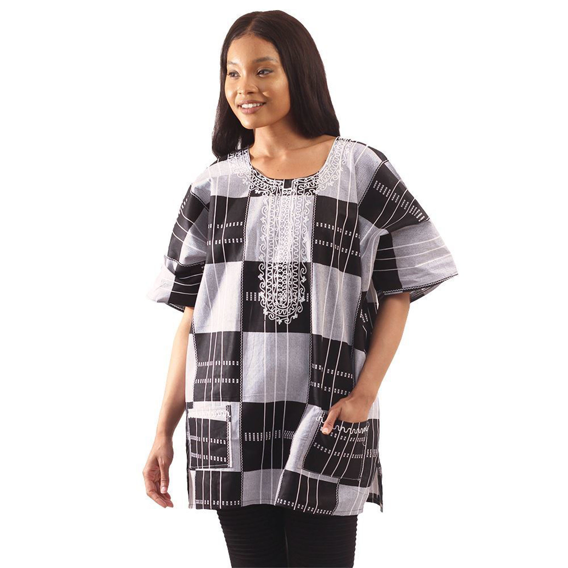 Picture of Black & White Kente #3 Dashiki