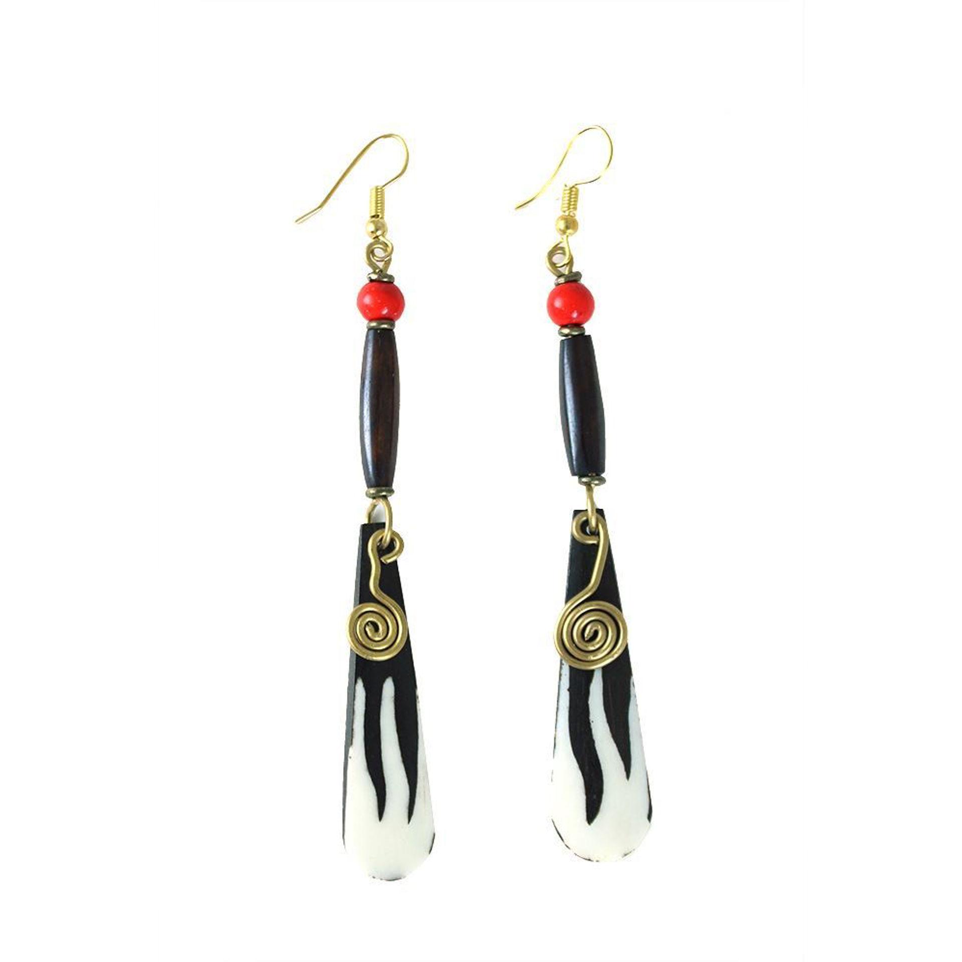 Picture of Batik Bone Spiral Earrings