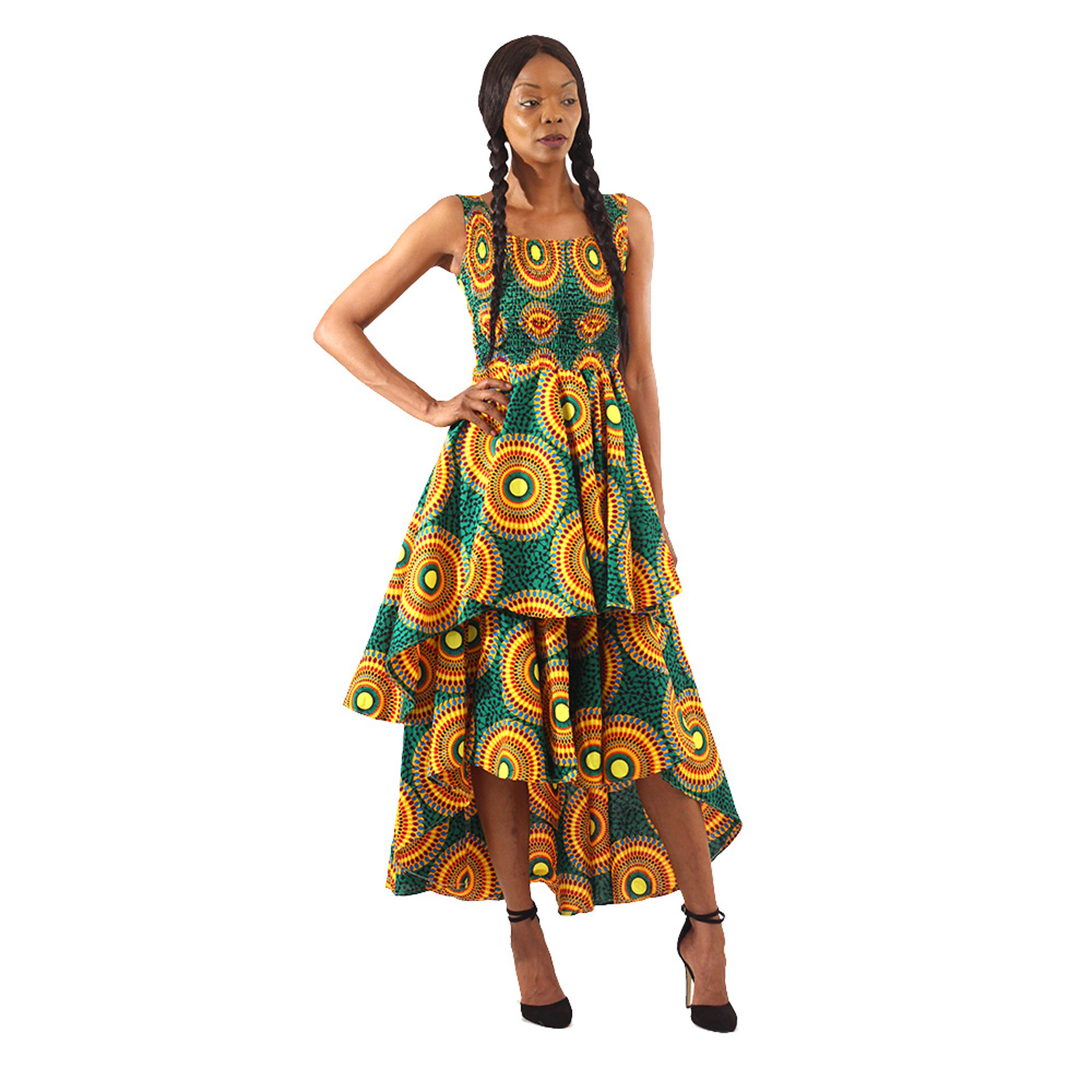 Picture of Green Circle Print Hi-Lo Tier Dress