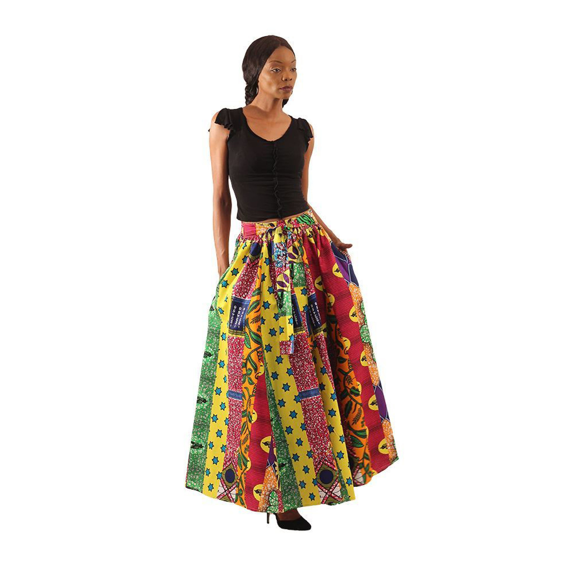 Picture of African Print Multi-Strip Maxi Skirt