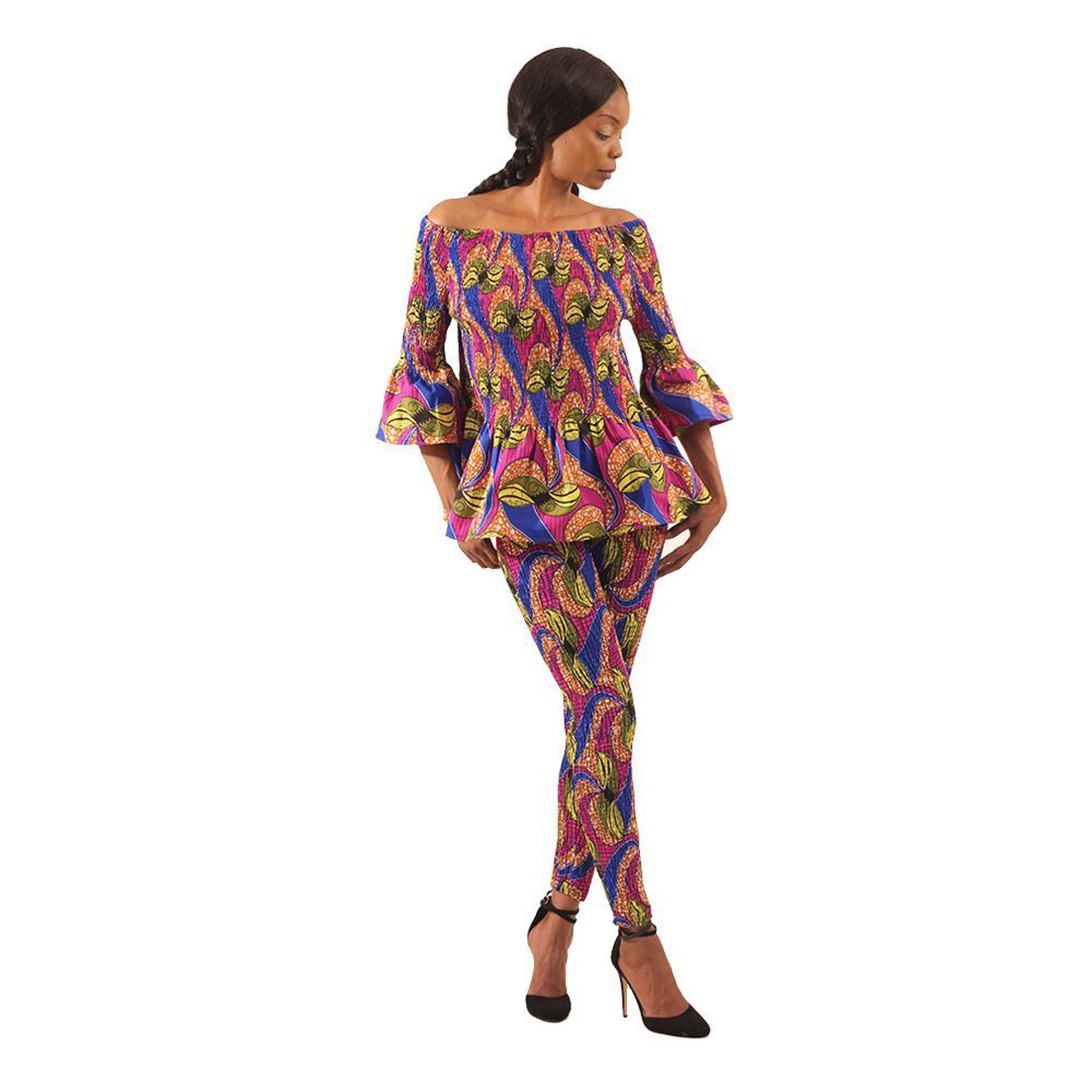 Picture of Pnk/Blu/Brn African Print Leggings Set