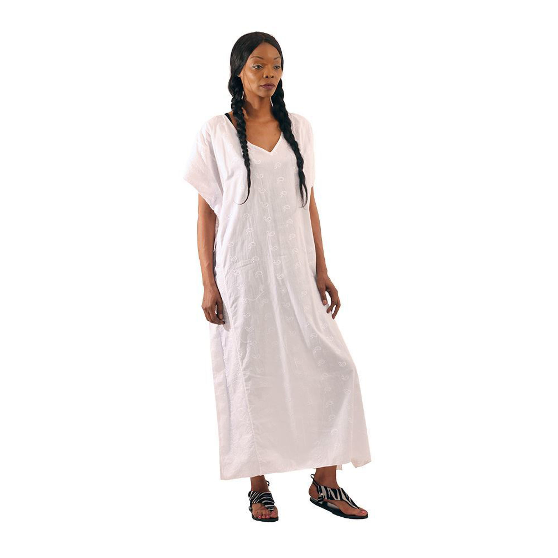 Picture of Shimmering White Embroidered Kaftan