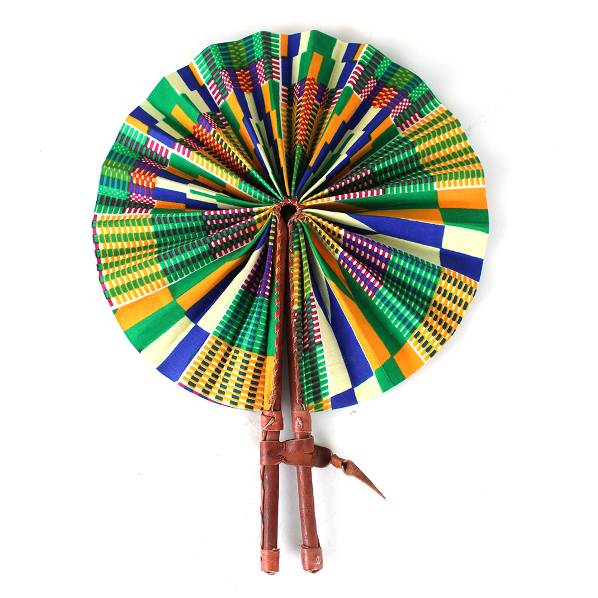 Picture of Orange/Green Kente Folding Fan