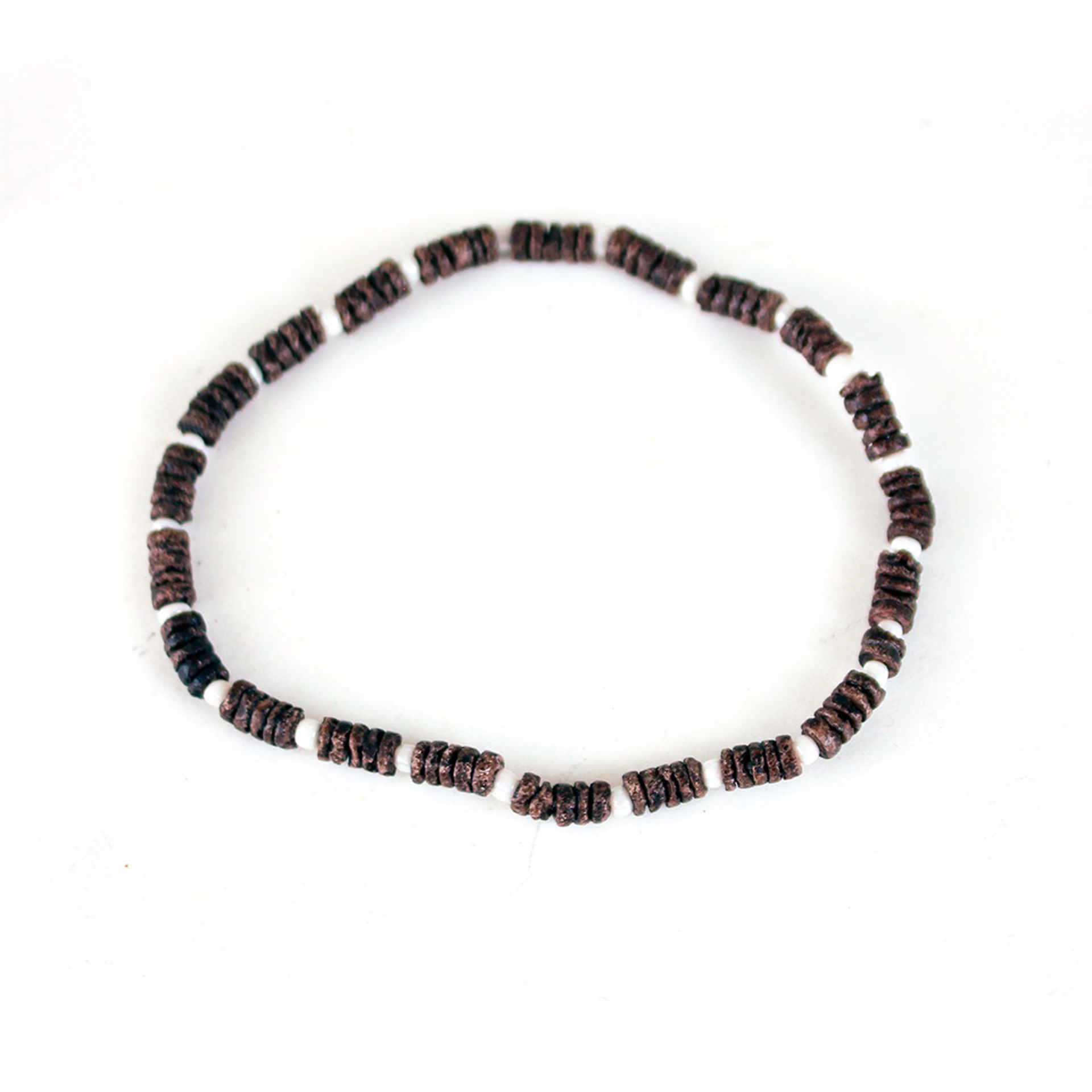 Picture of Set Of 12 Brown/White Bead Bracelets