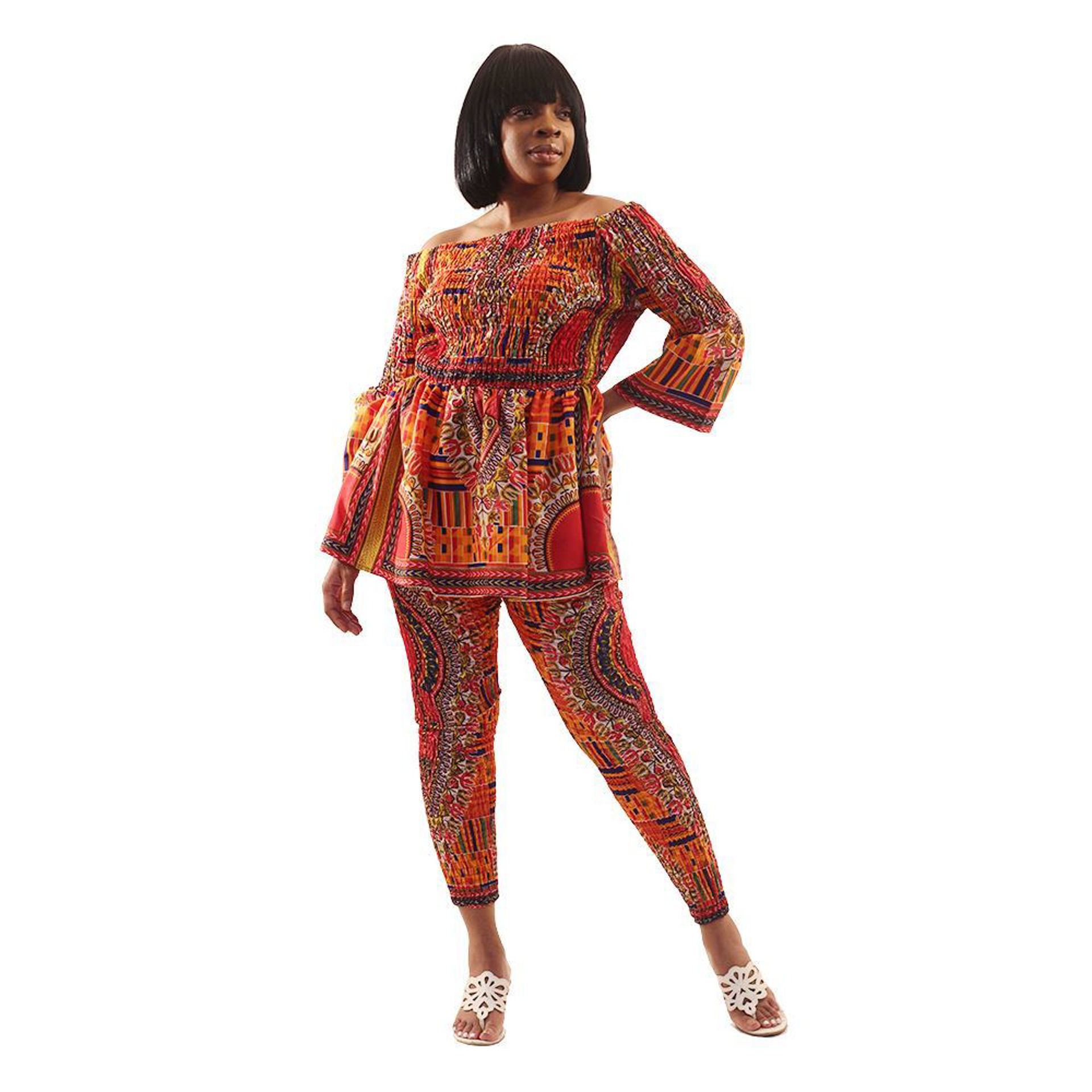 Picture of Mixed Kente & Trad Print Pant Set